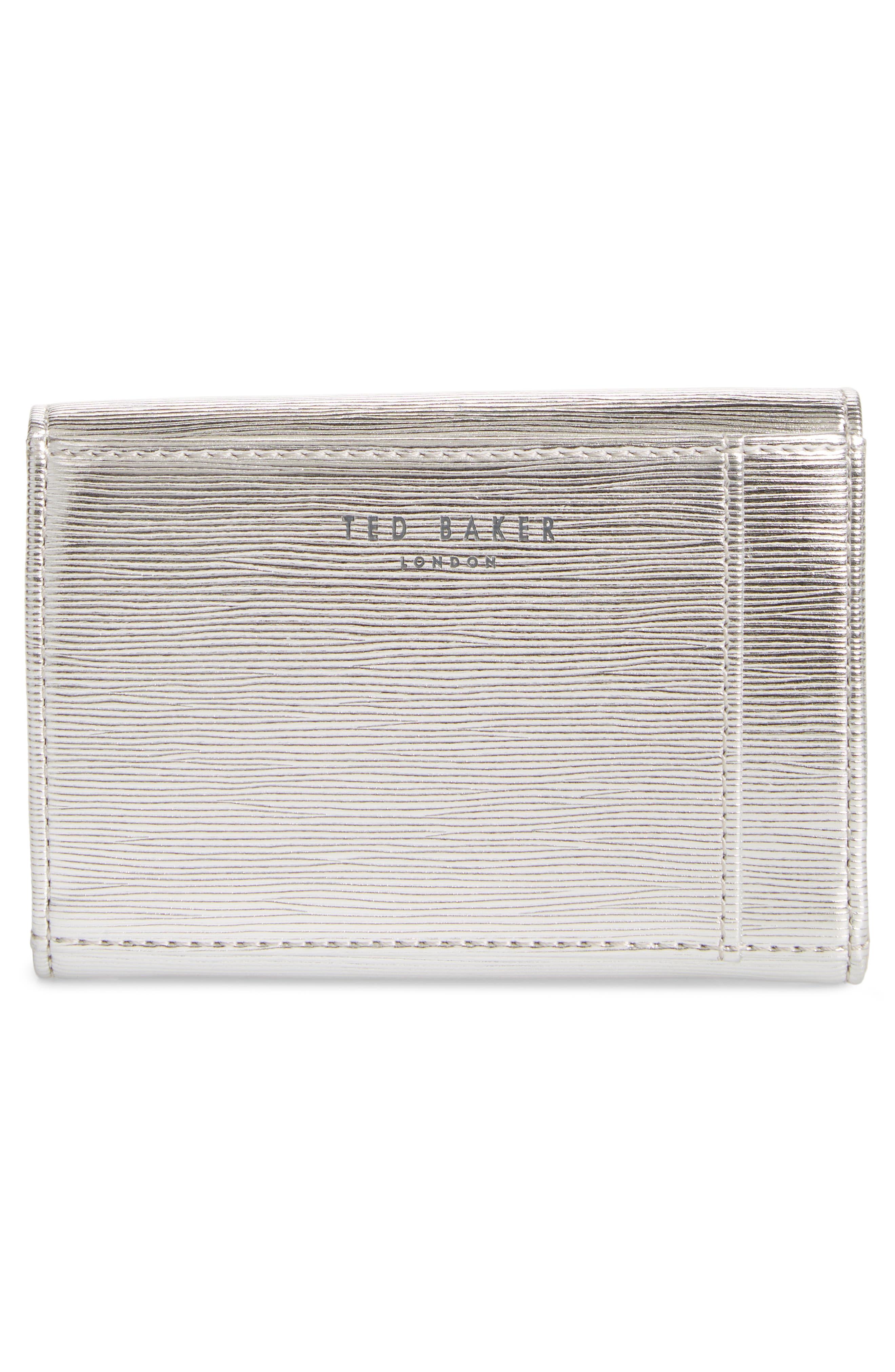 Valenta Plissé Leather Mini Wallet,                             Alternate thumbnail 4, color,                             Silver