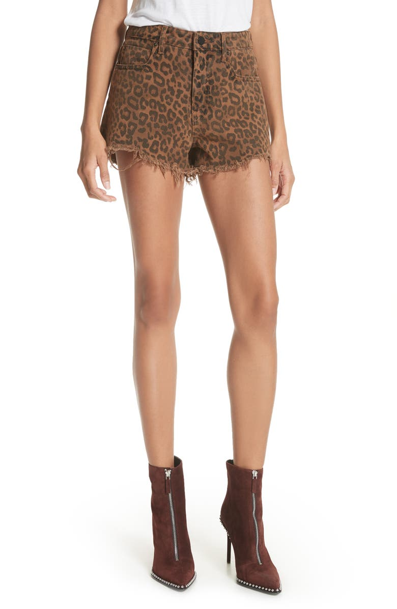 Denim x Alexander Wang Bite Leopard Print Denim Shorts