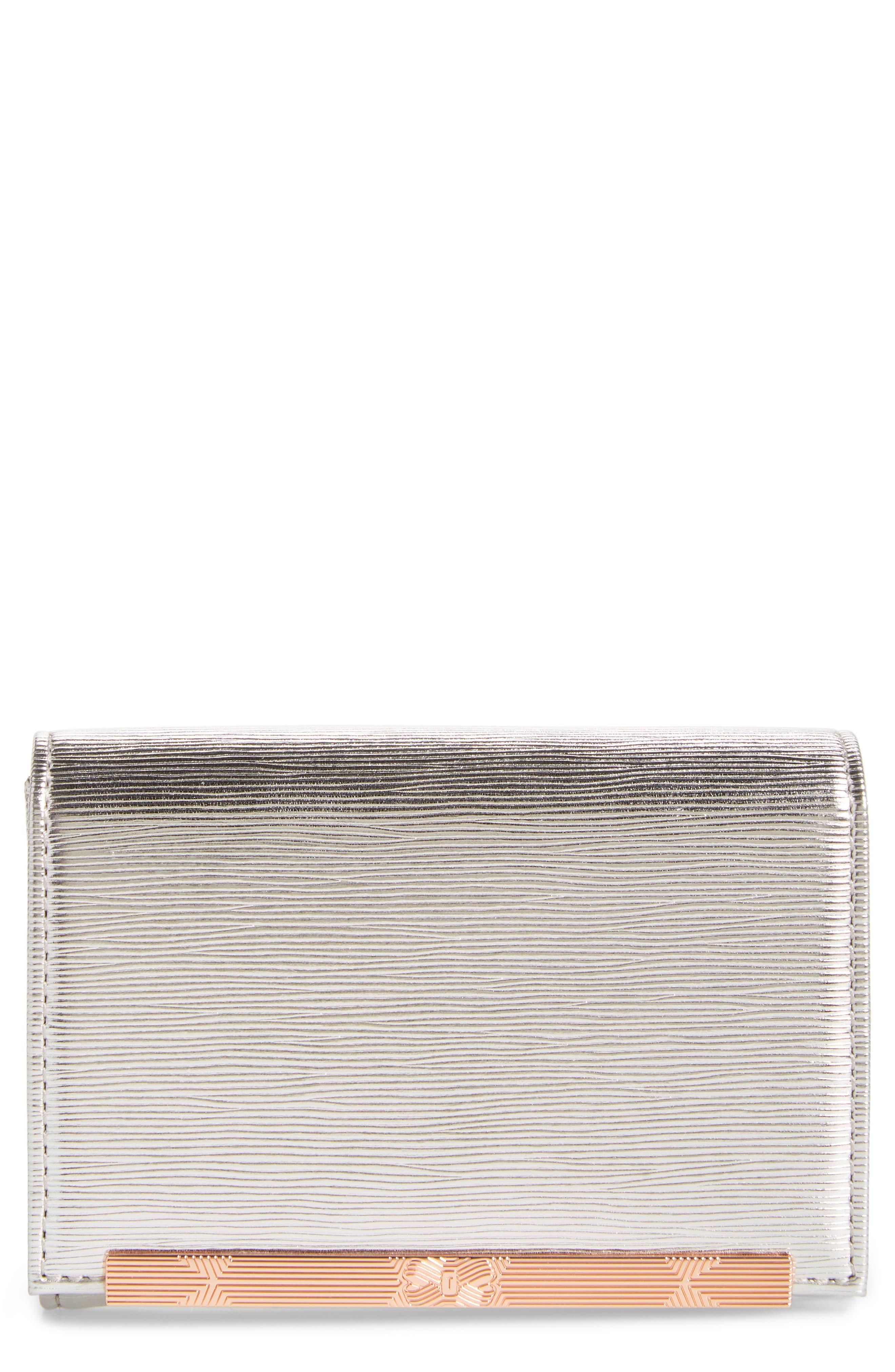 Valenta Plissé Leather Mini Wallet,                             Main thumbnail 1, color,                             Silver