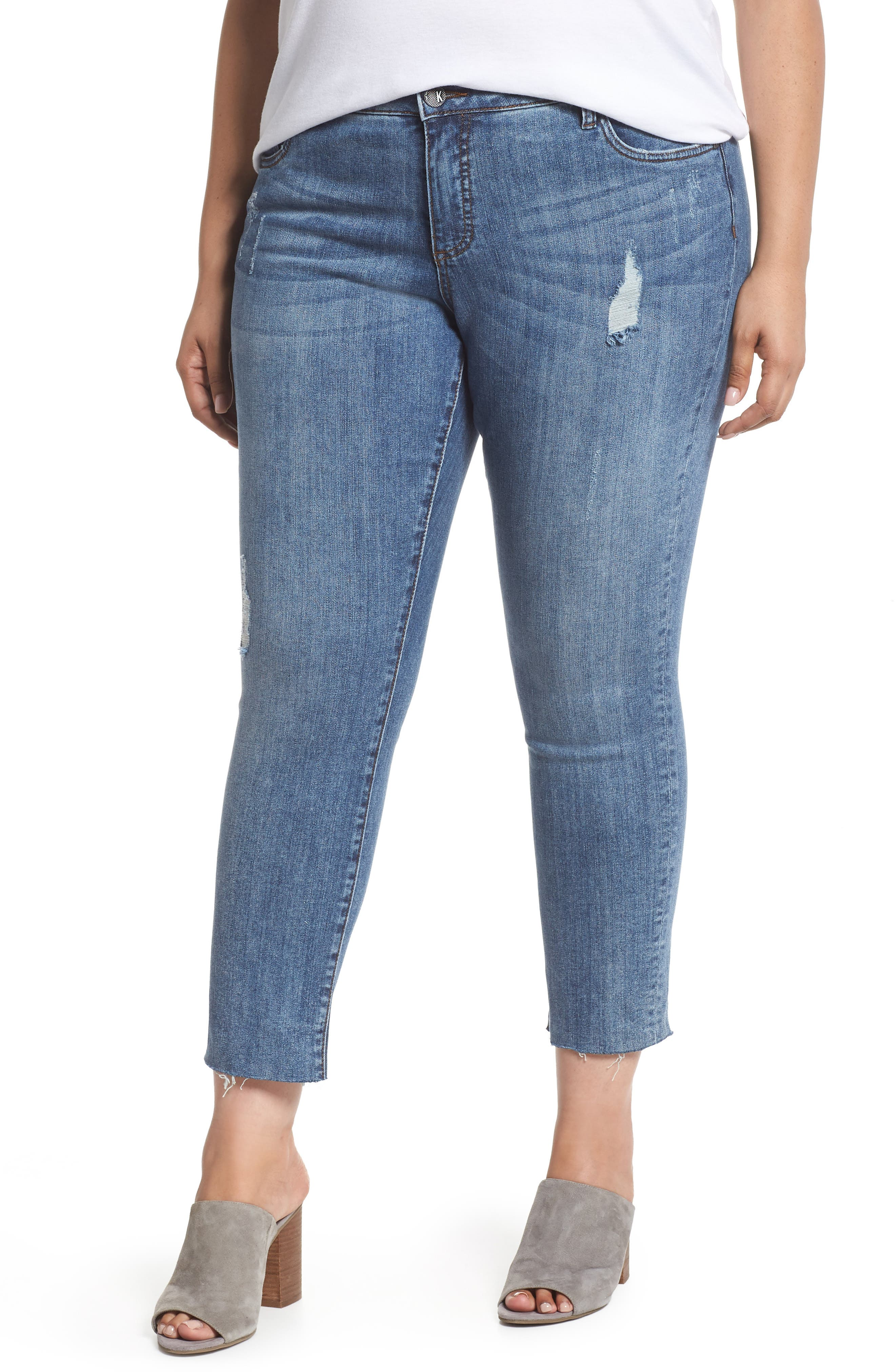 KUT from the Kloth Reese Distressed Ankle Straight Leg Jeans (Appointed) (Plus Size)