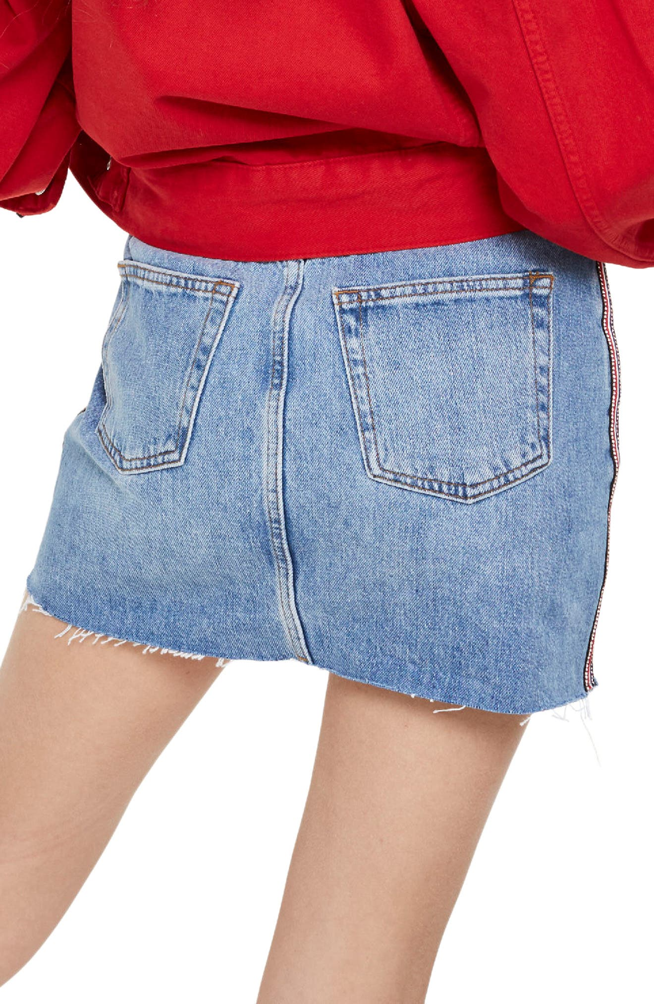 Diamante Stripe Denim Skirt,                             Alternate thumbnail 2, color,                             Mid Denim