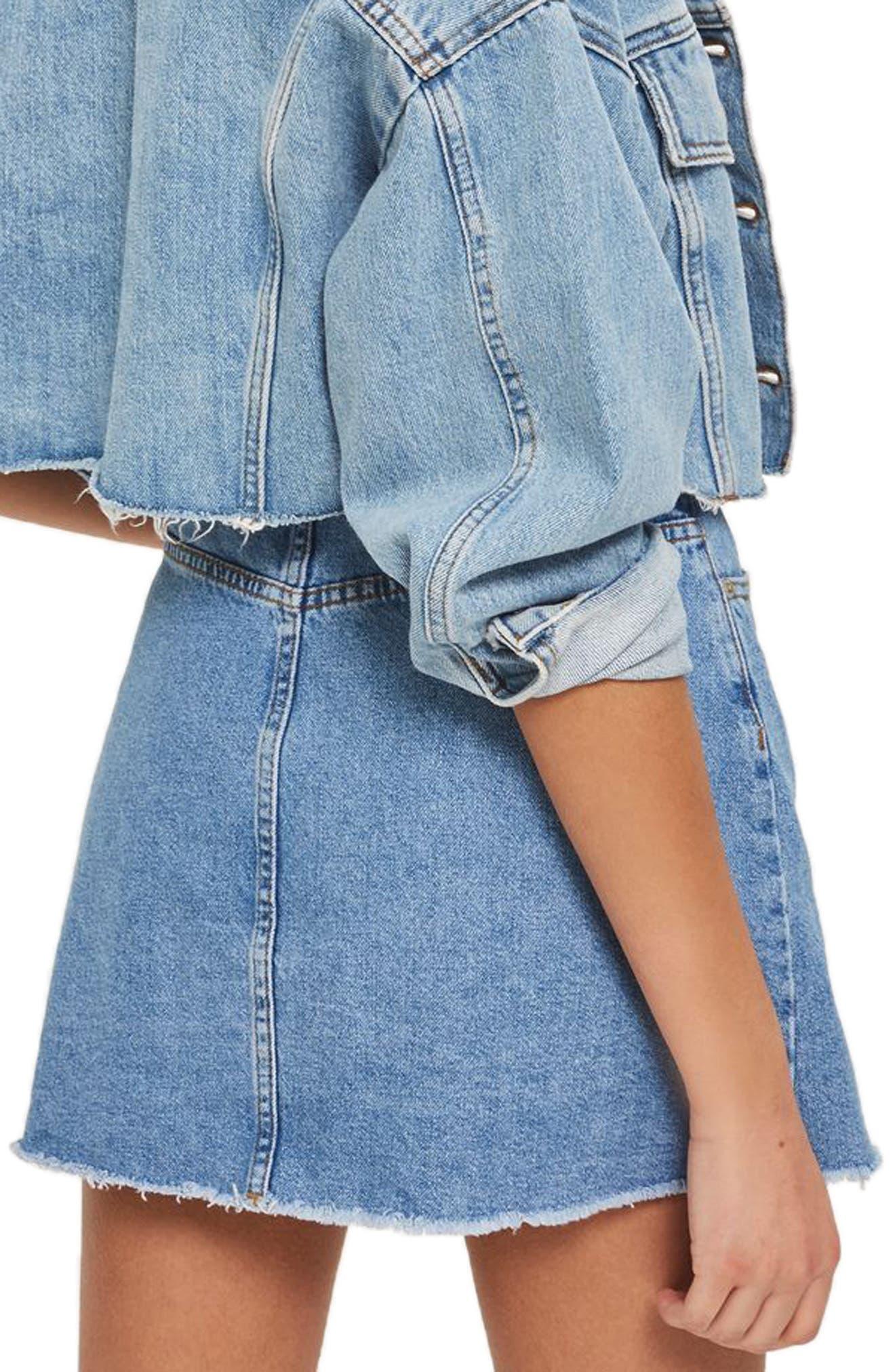 Button Denim Miniskirt,                             Alternate thumbnail 3, color,                             Light Denim
