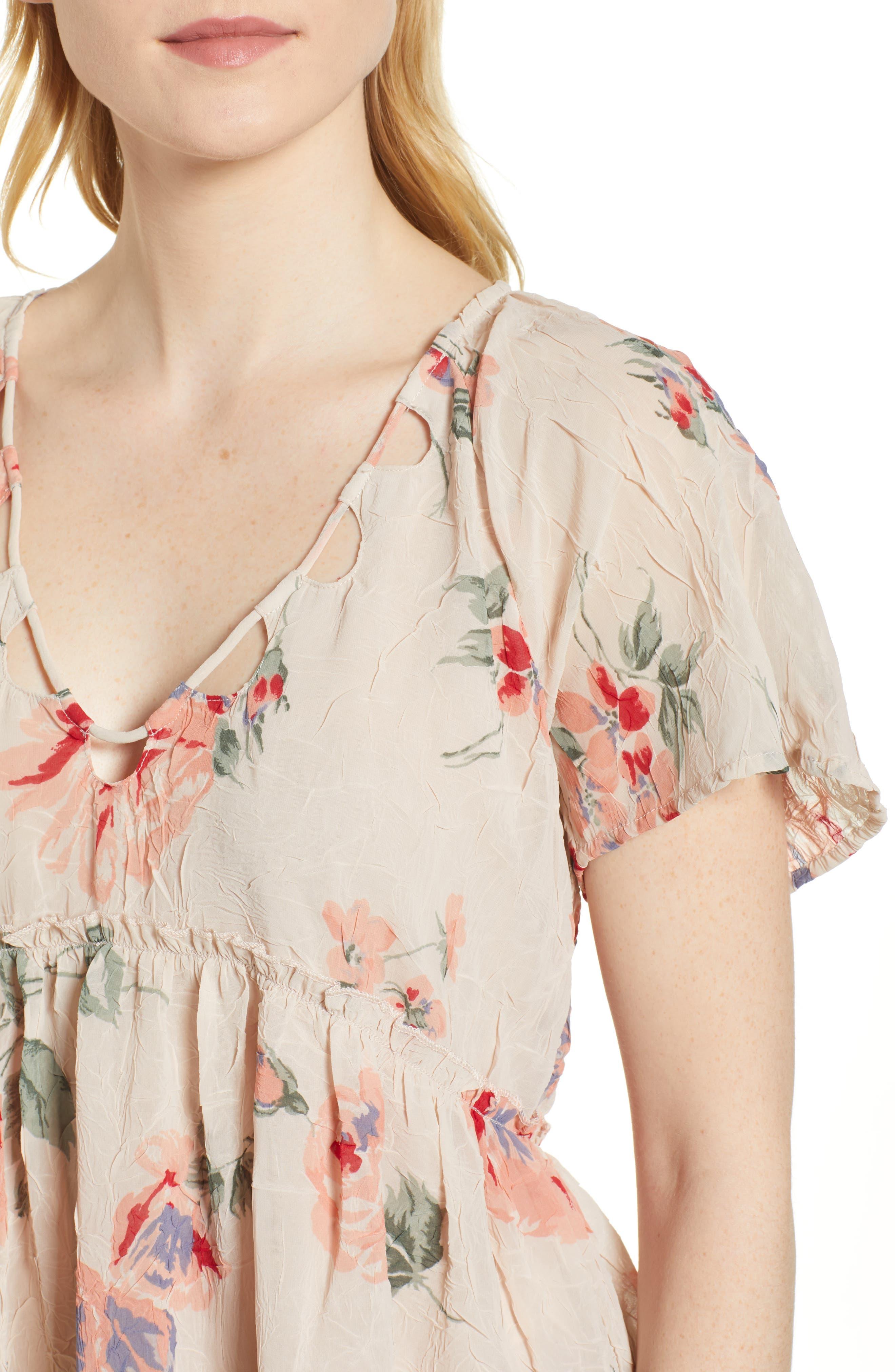 Floral Flutter Top,                             Alternate thumbnail 4, color,                             Pink Multi