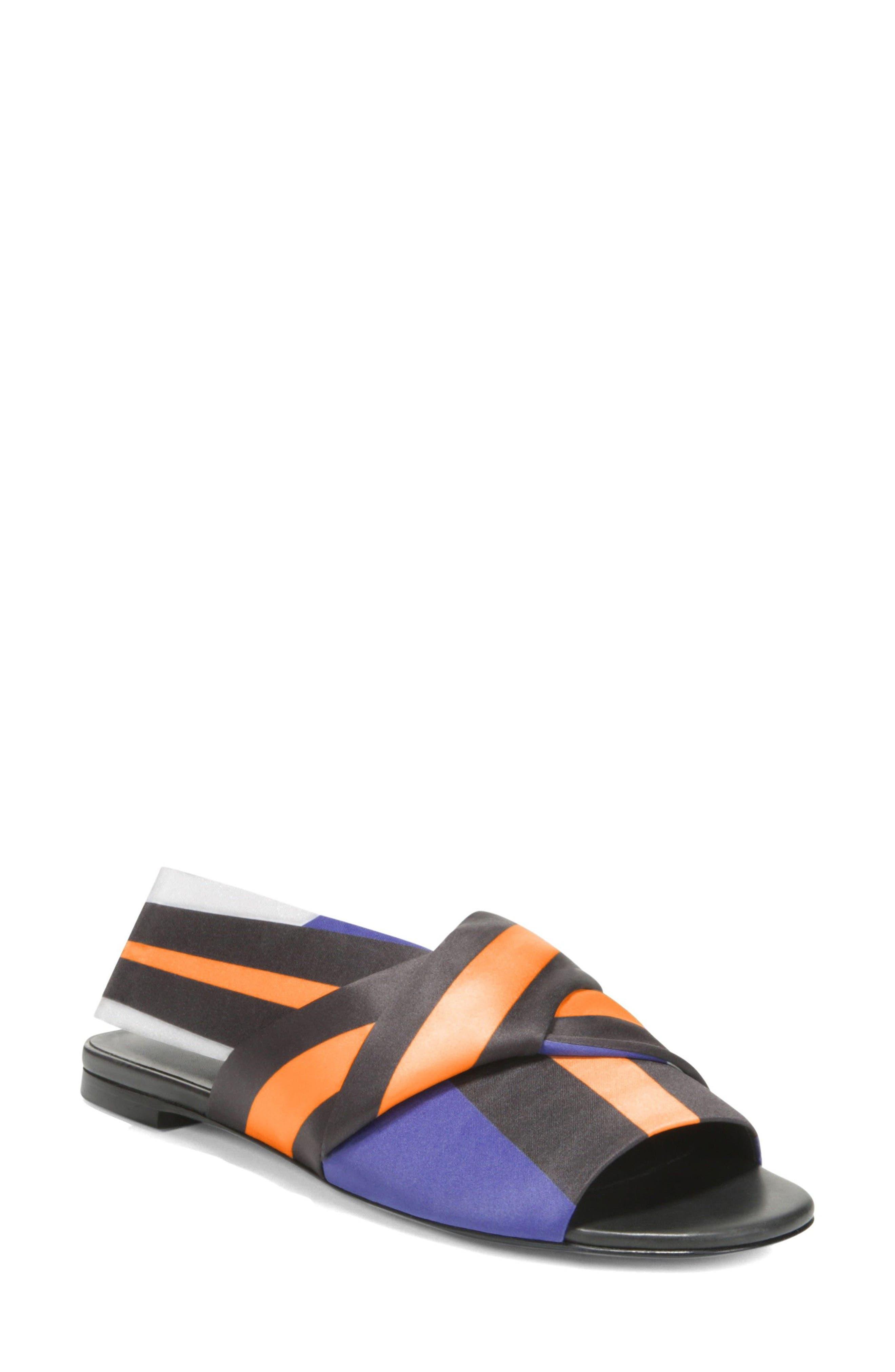 Halina Slide Sandal,                         Main,                         color, Sapphire/ Wine Fabric