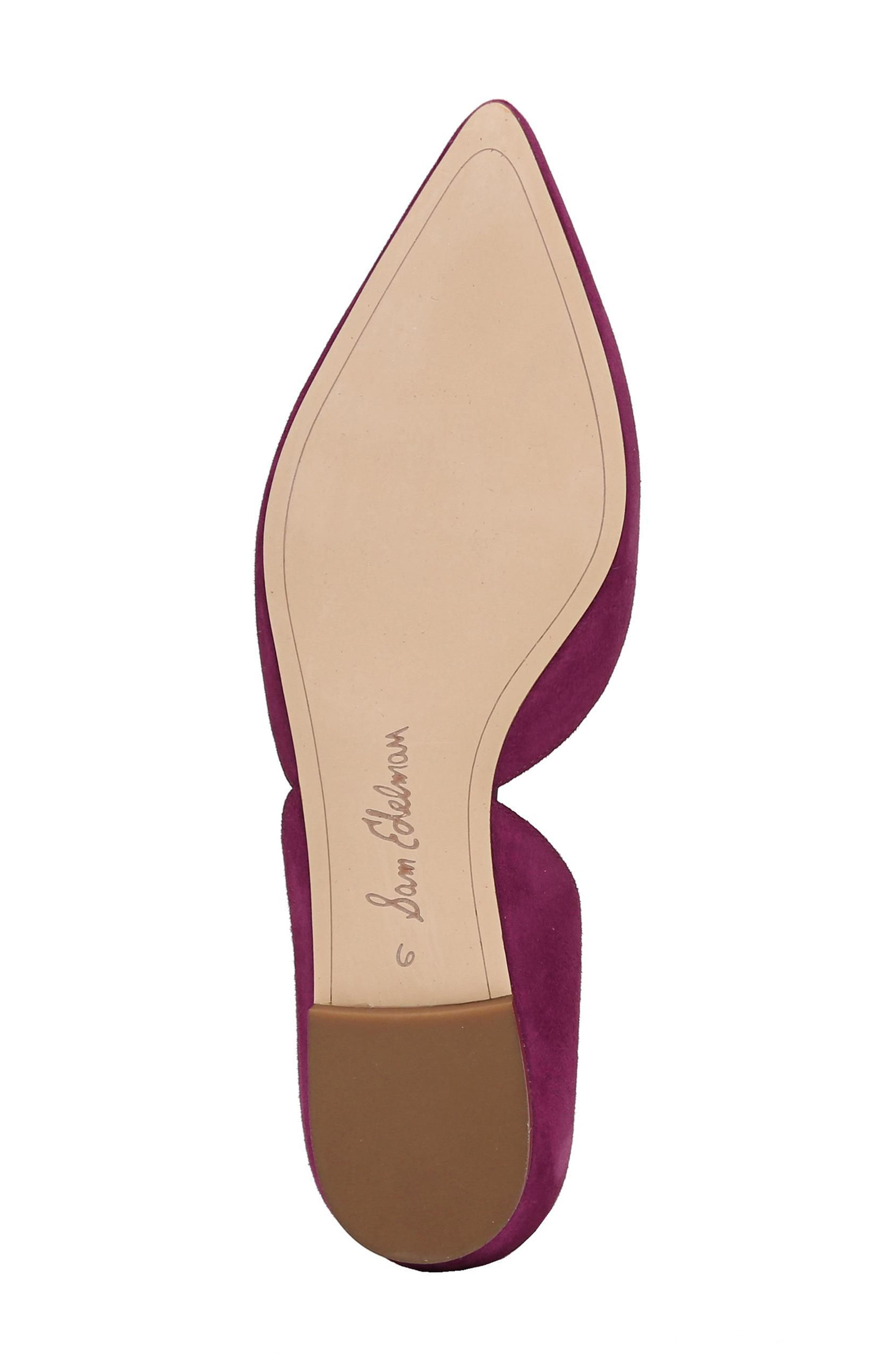 Rodney Pointy Toe d'Orsay Flat,                             Alternate thumbnail 6, color,                             Purple Plum Suede