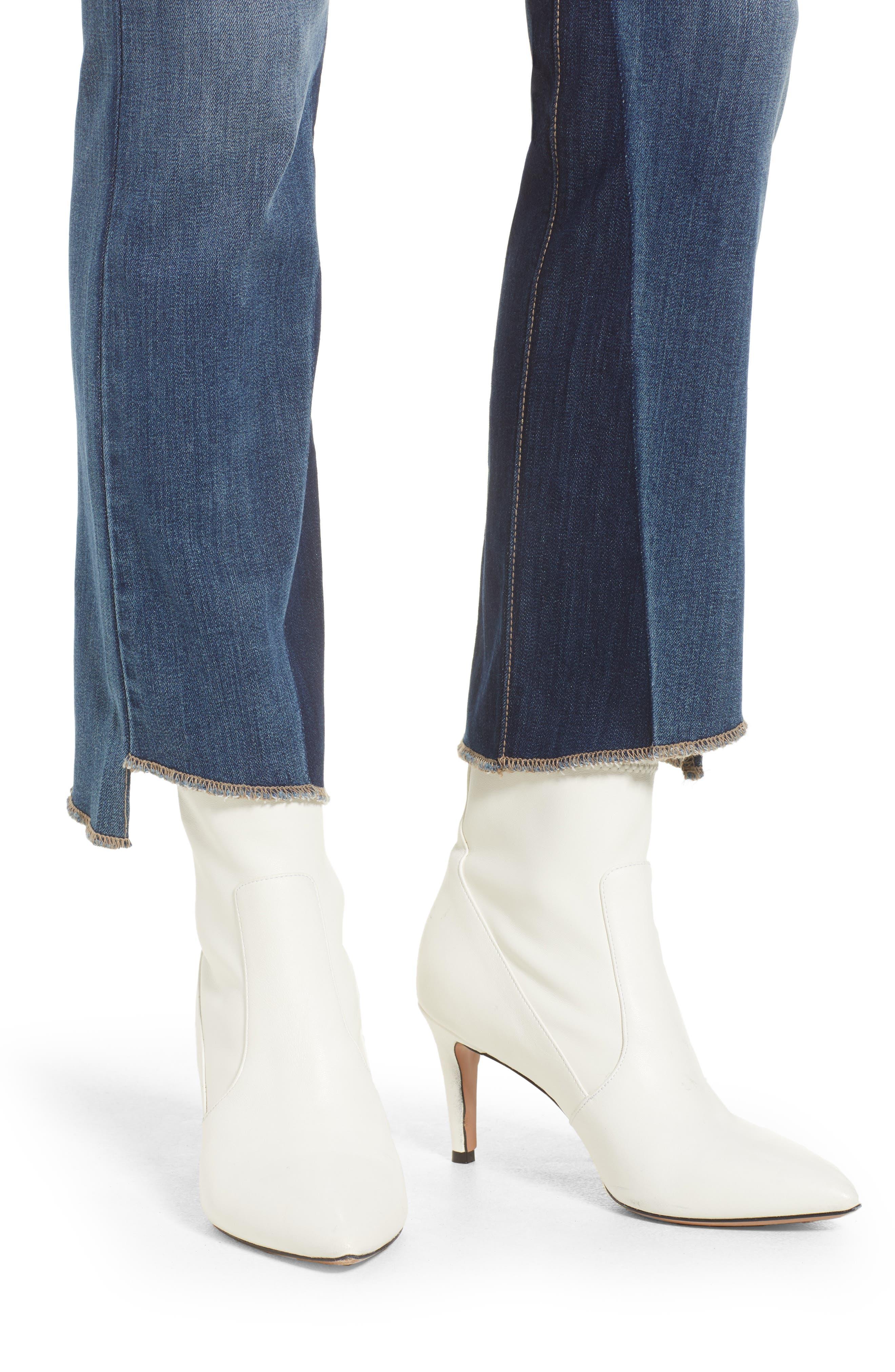 Step Hem Crop Flare Jeans,                             Alternate thumbnail 6, color,                             Med Wash