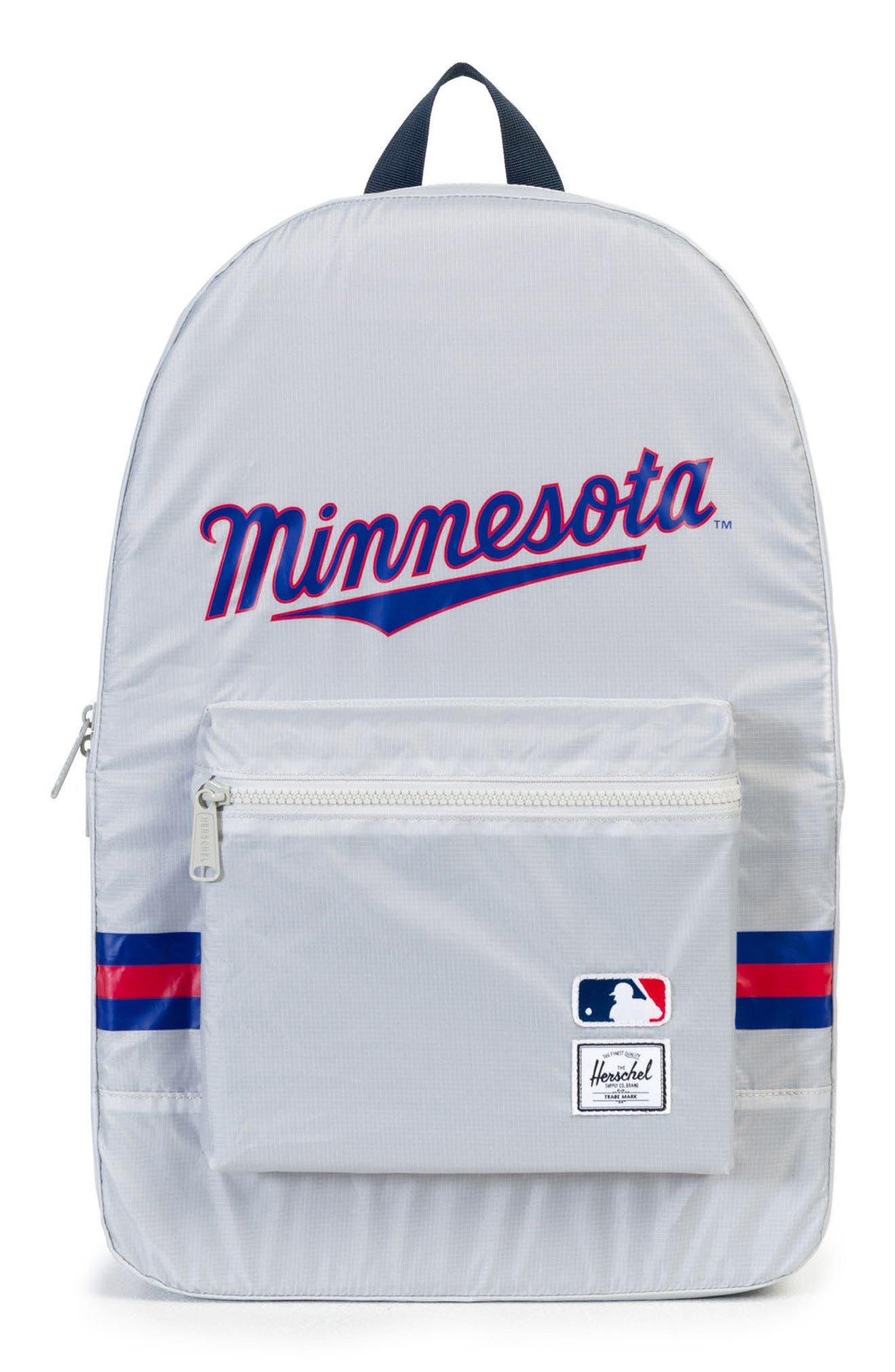 Packable - MLB American League Backpack,                             Main thumbnail 1, color,                             Minnesota Twins
