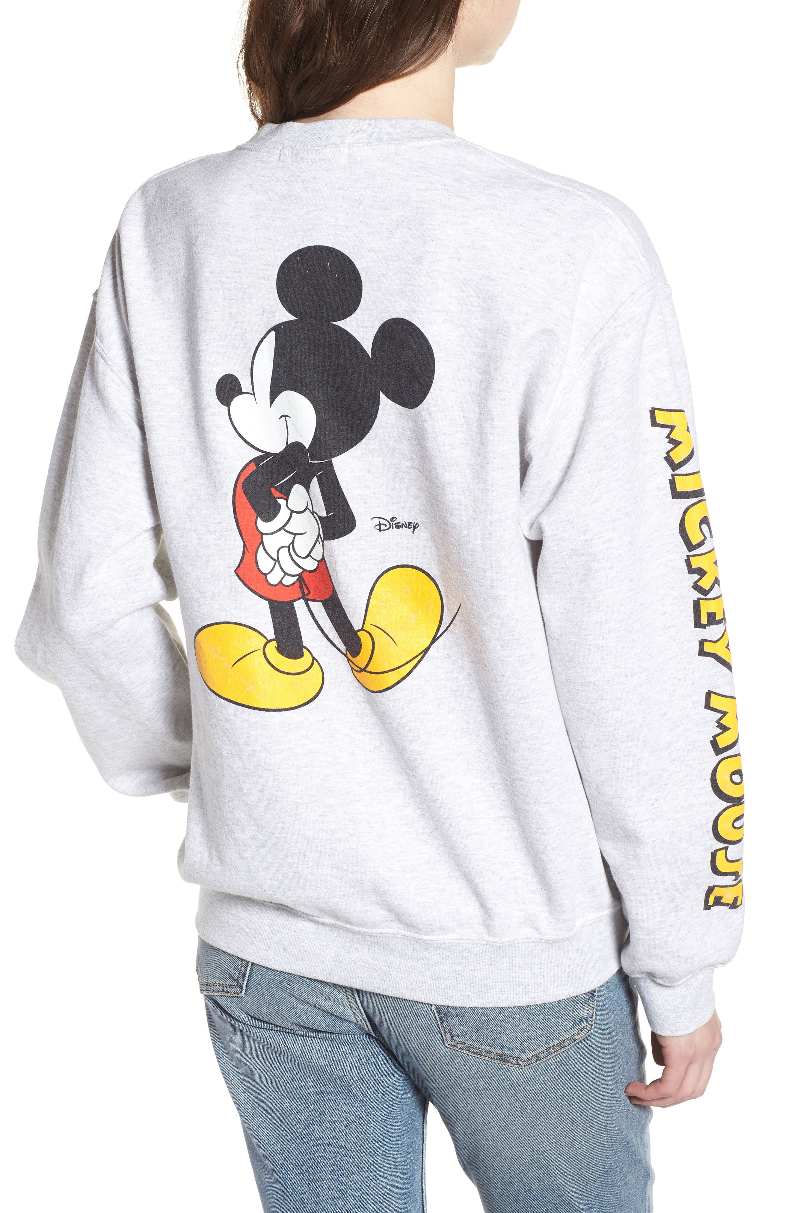 Mickey Mouse Oversize Sweatshirt,                             Alternate thumbnail 2, color,                             Ash Heather