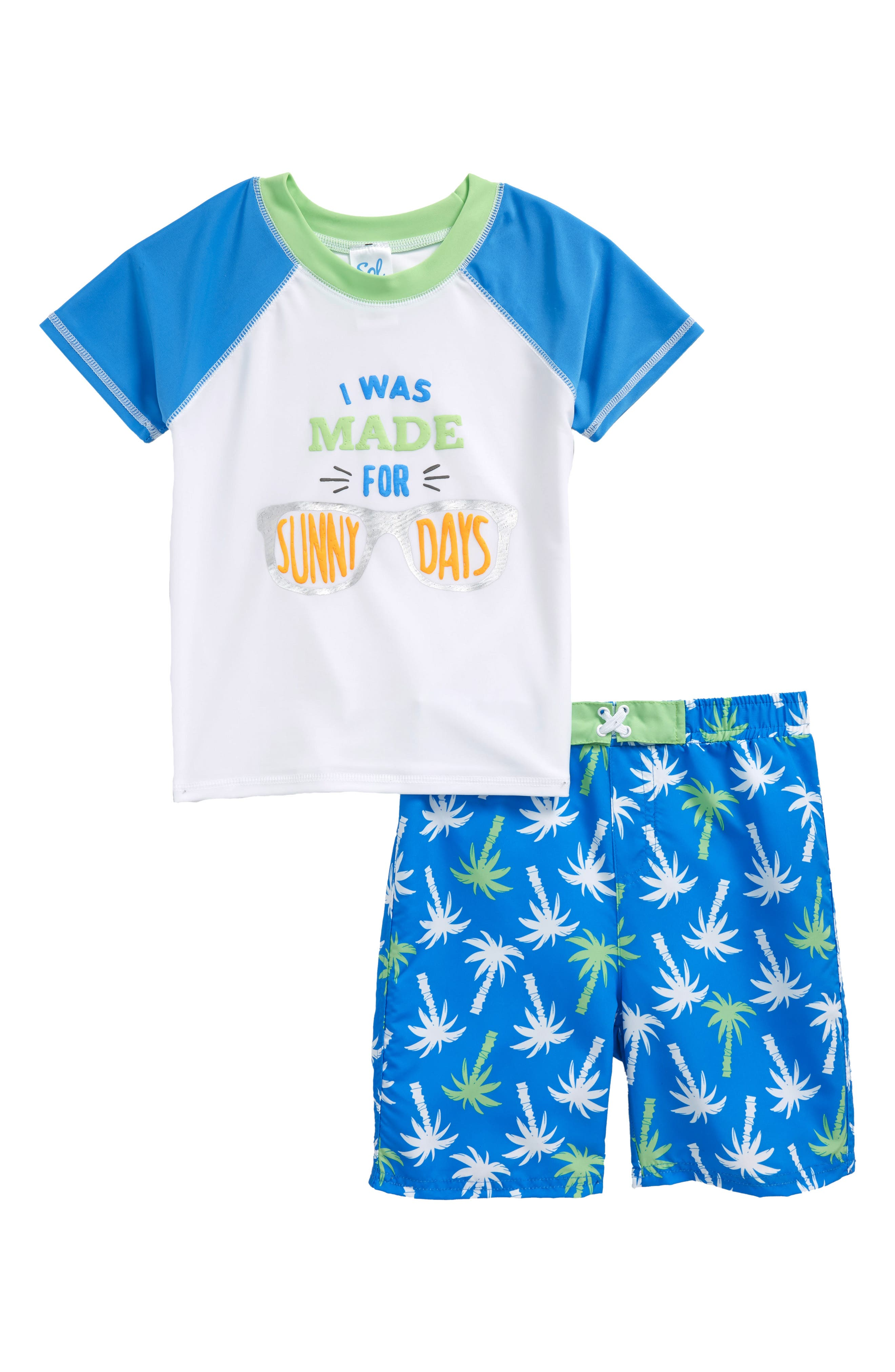 Sol Swim Sunny Palms Two-Piece Rashguard Swimsuit (Toddler Boys & Little Boys)