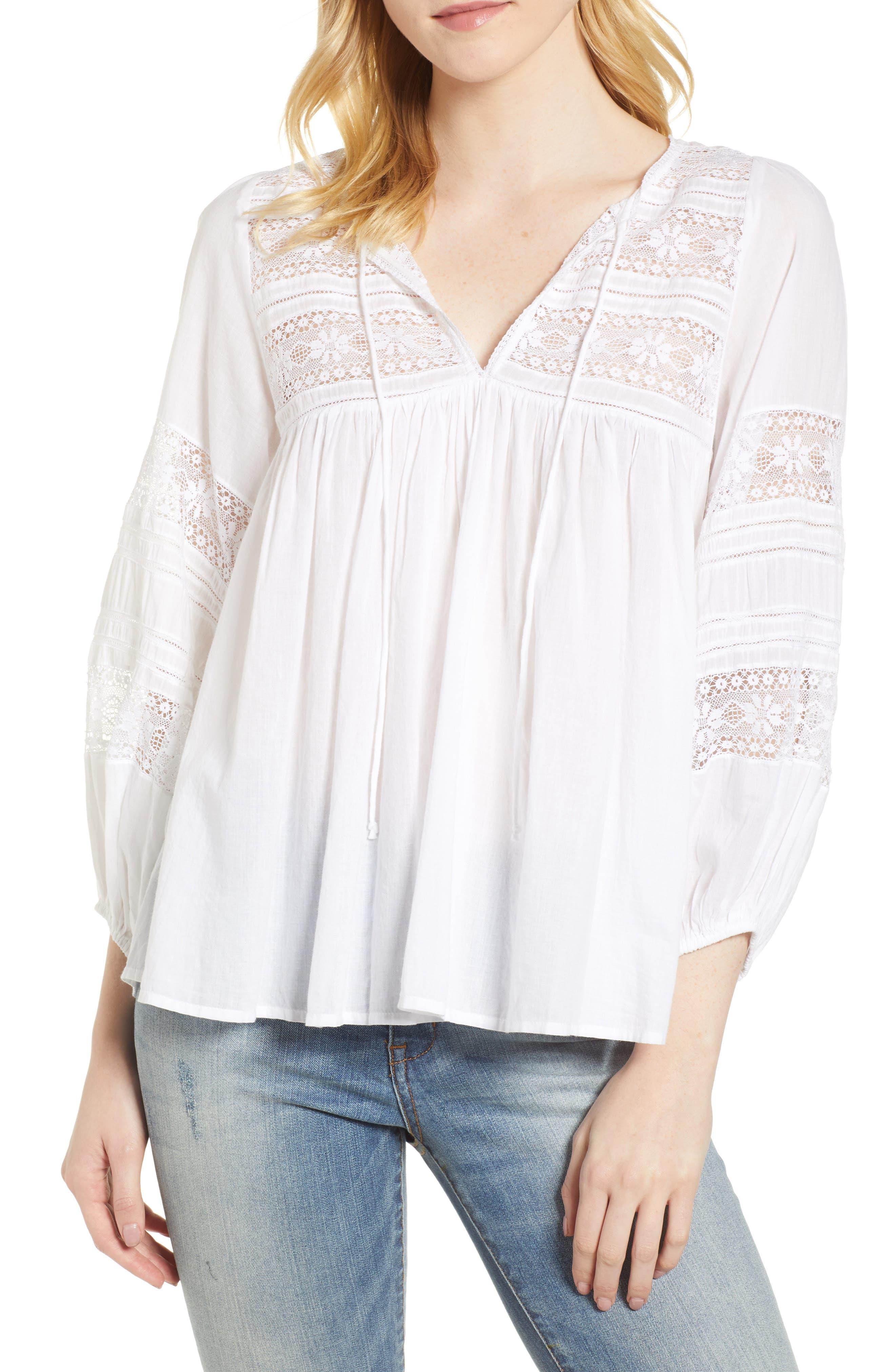 Cotton Lace Peasant Blouse,                         Main,                         color, White