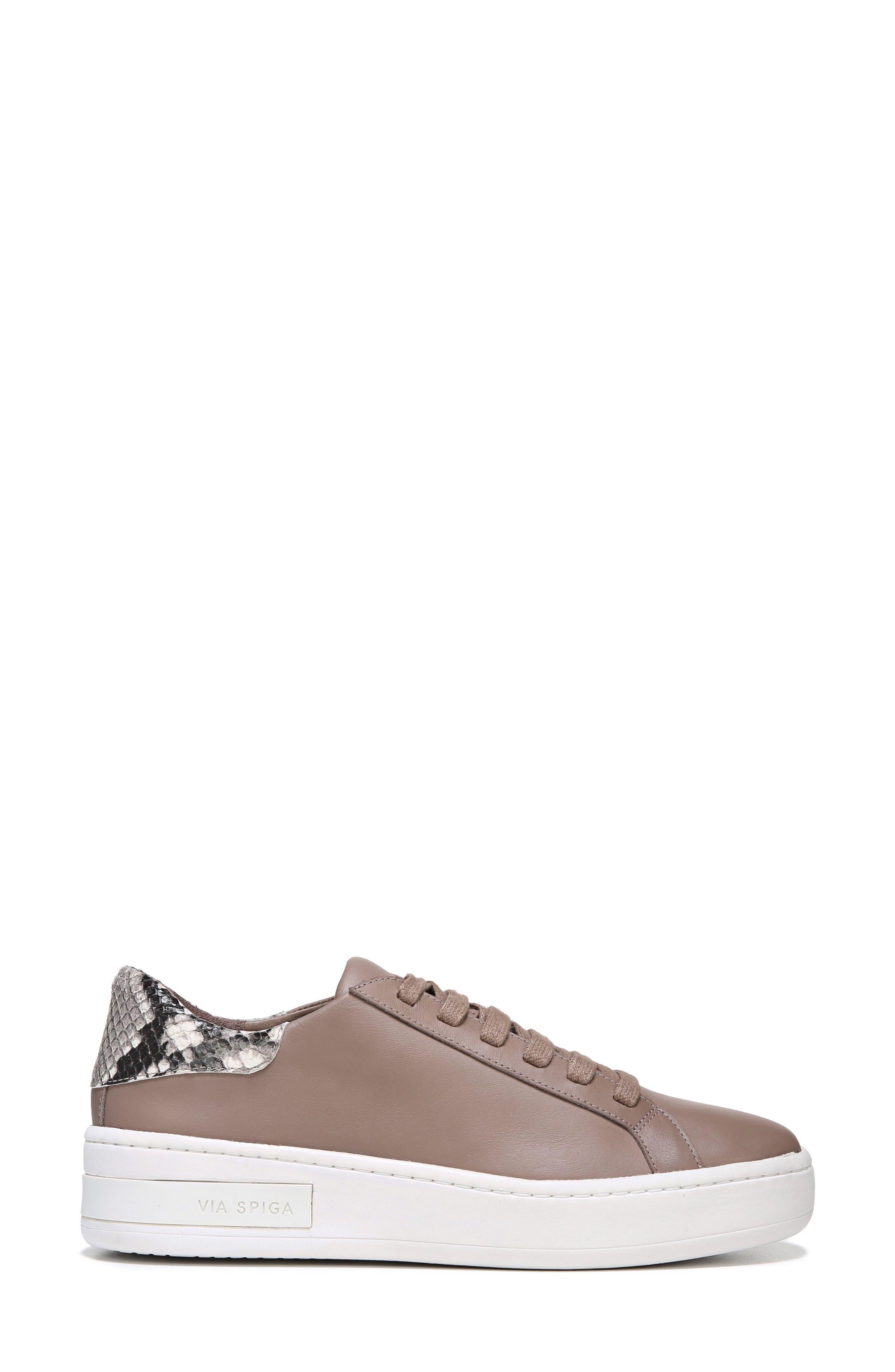 Rylen Platform Sneaker,                             Alternate thumbnail 3, color,                             Porcini/ Black/ White Leather