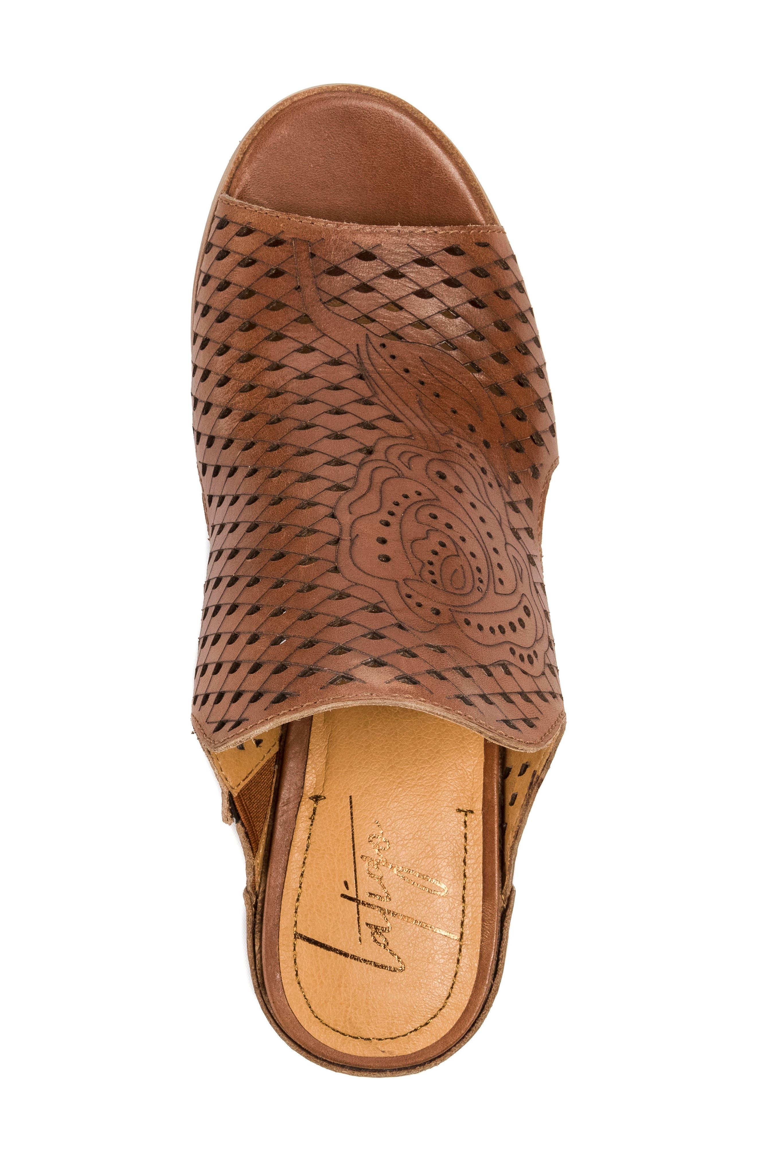 Janis Laser Cut Wedge Sandal,                             Alternate thumbnail 5, color,                             Brush Brown Leather