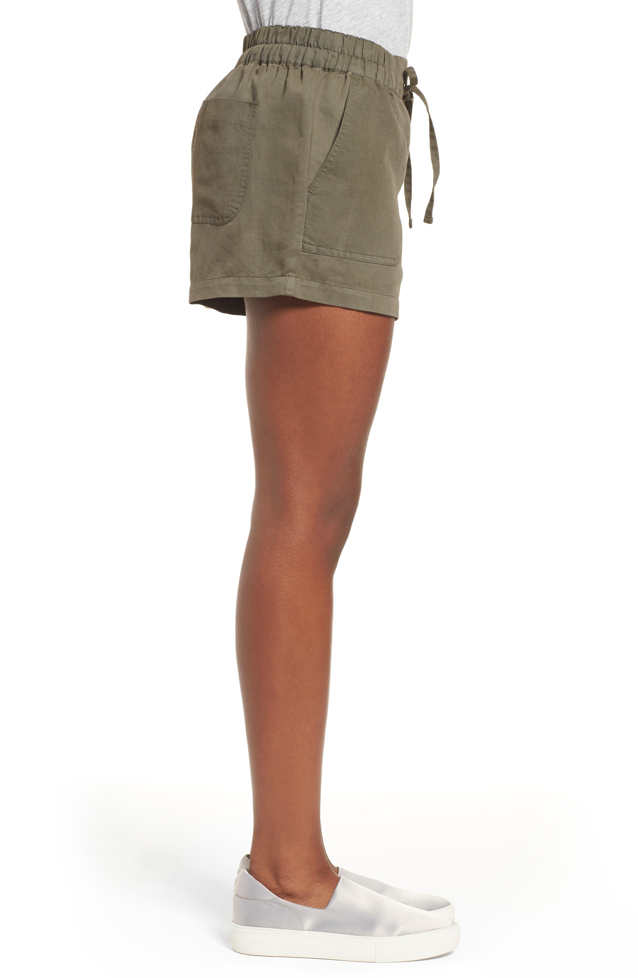 Drawstring Cotton Shorts,                             Alternate thumbnail 3, color,                             Pine