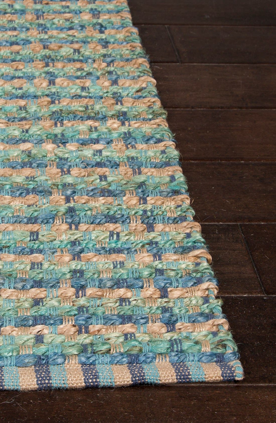 'Manchester' Jute & Cotton Accent Rug,                             Alternate thumbnail 4, color,                             Blue/ Taupe