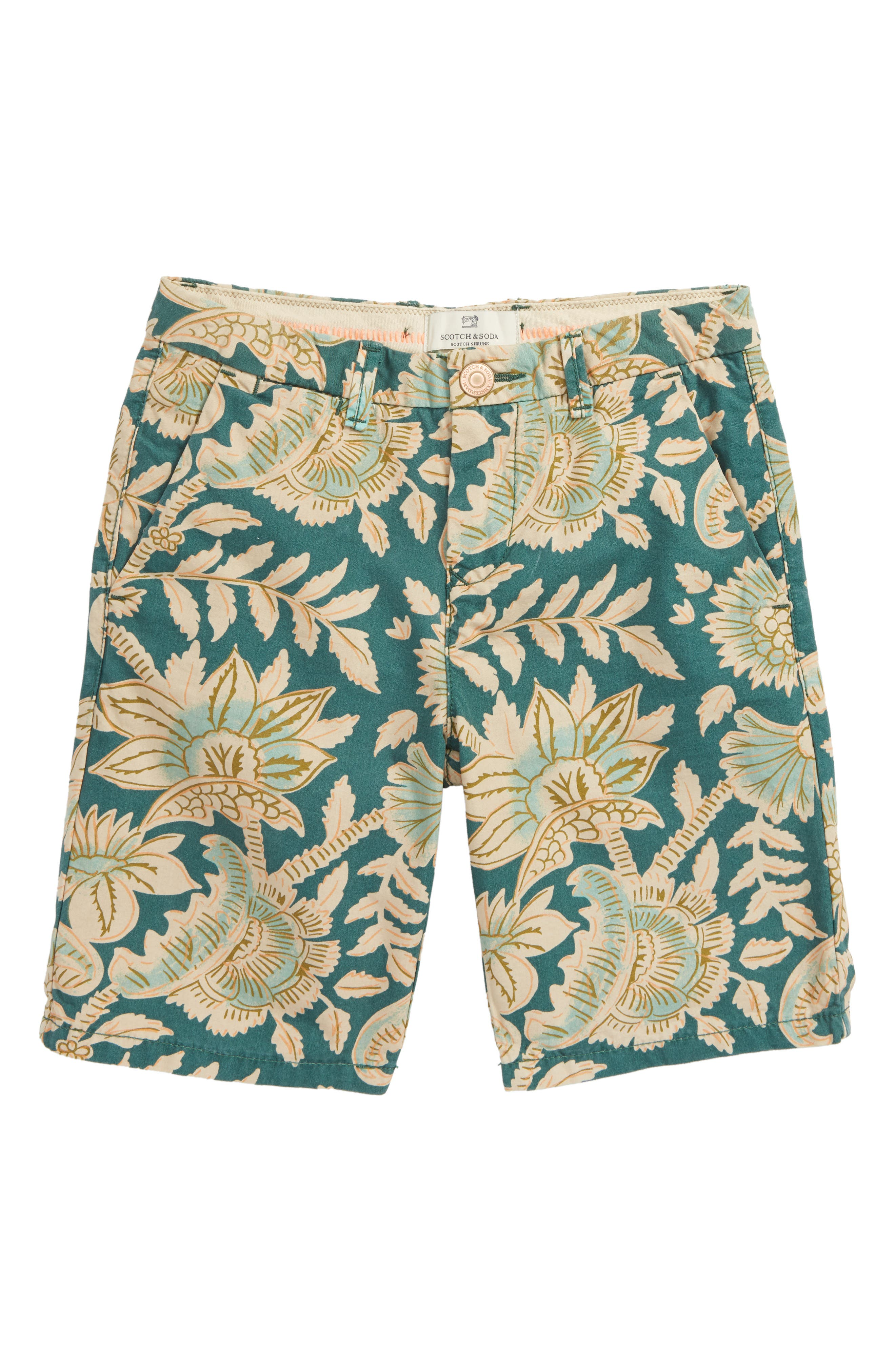 Print Chino Shorts,                         Main,                         color, Green Print