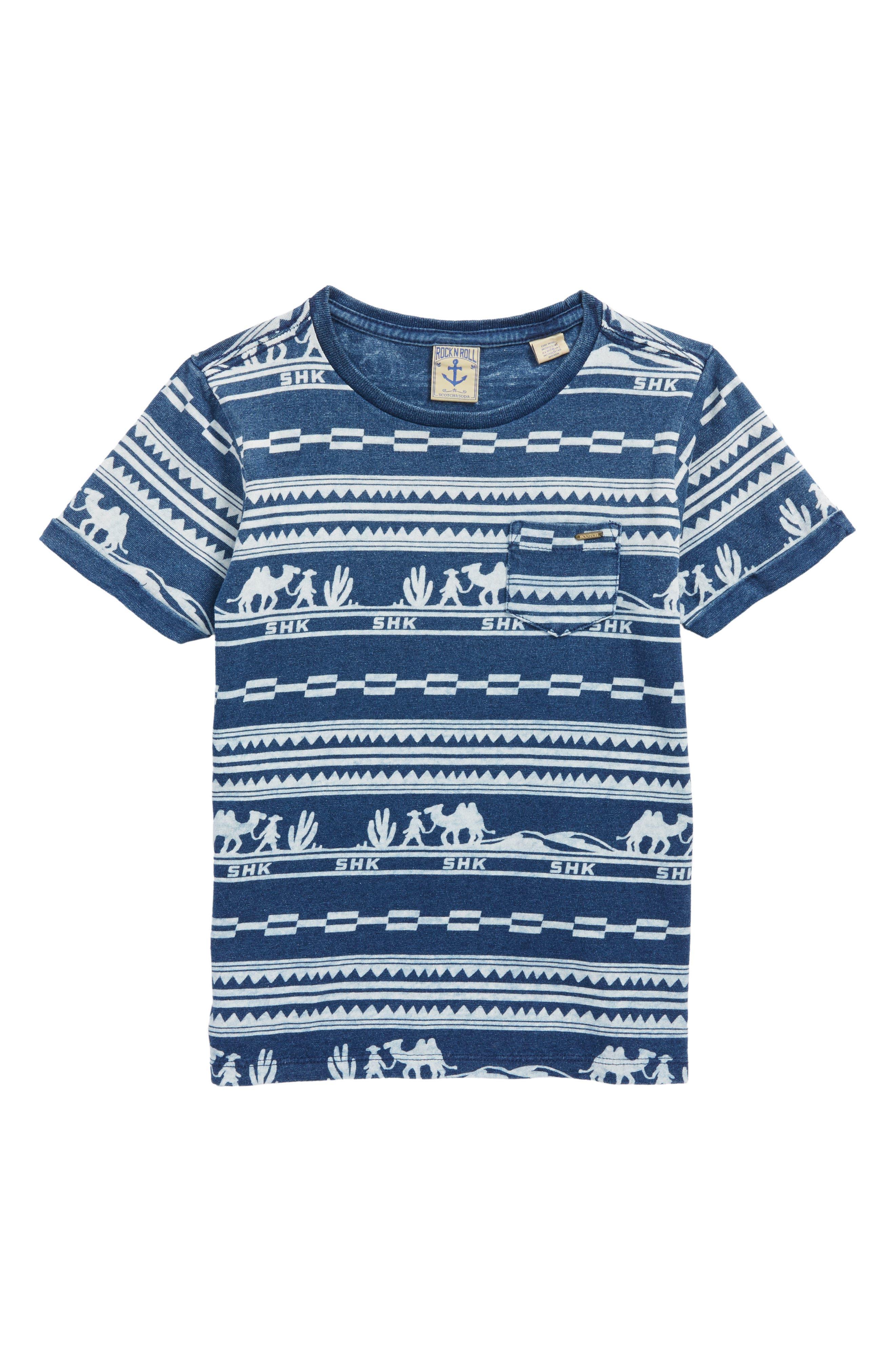 Print Shirt,                         Main,                         color, Indigo