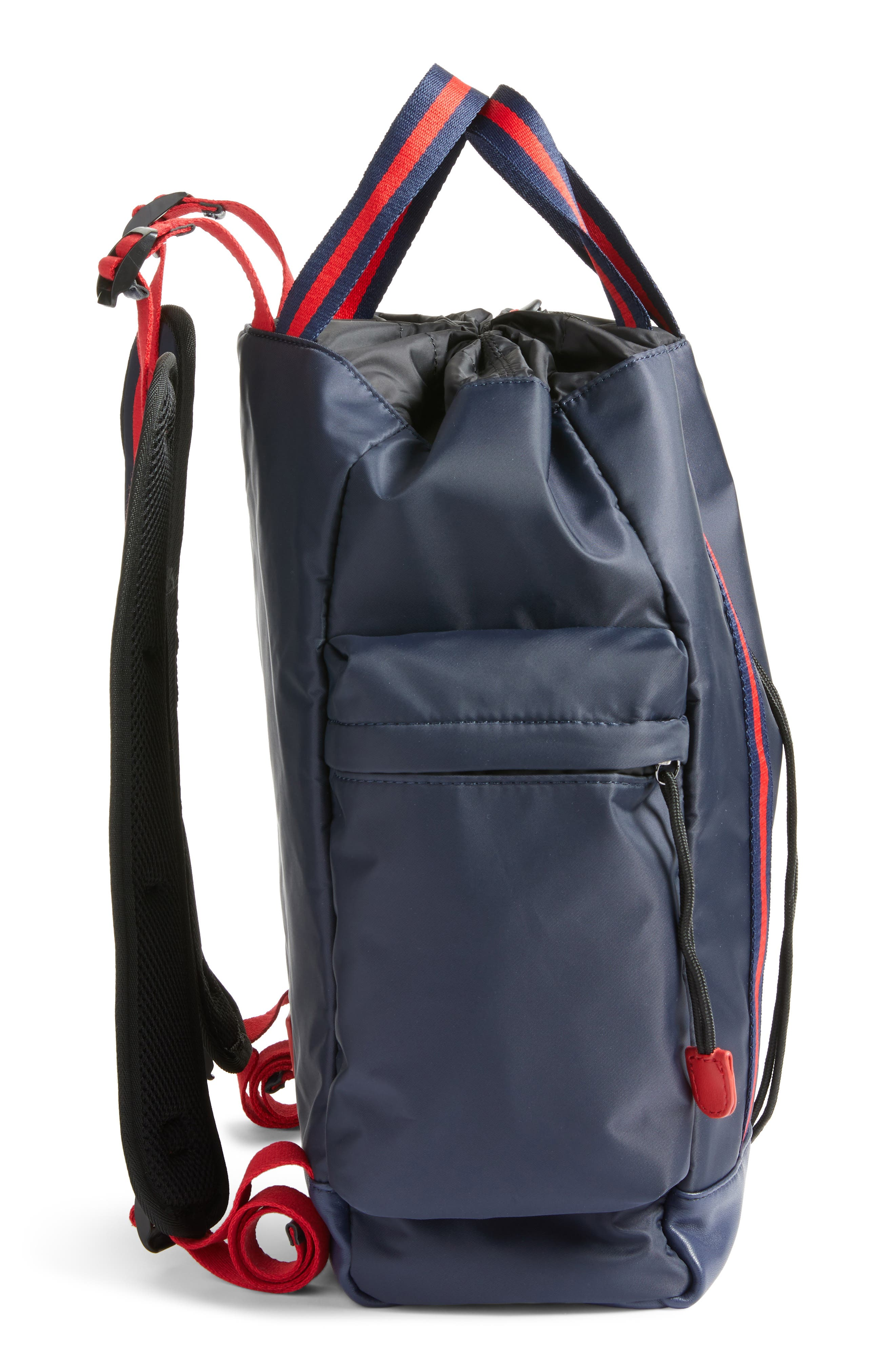 Yungg Stripe Strap Backpack,                             Alternate thumbnail 5, color,                             Navy/ Red