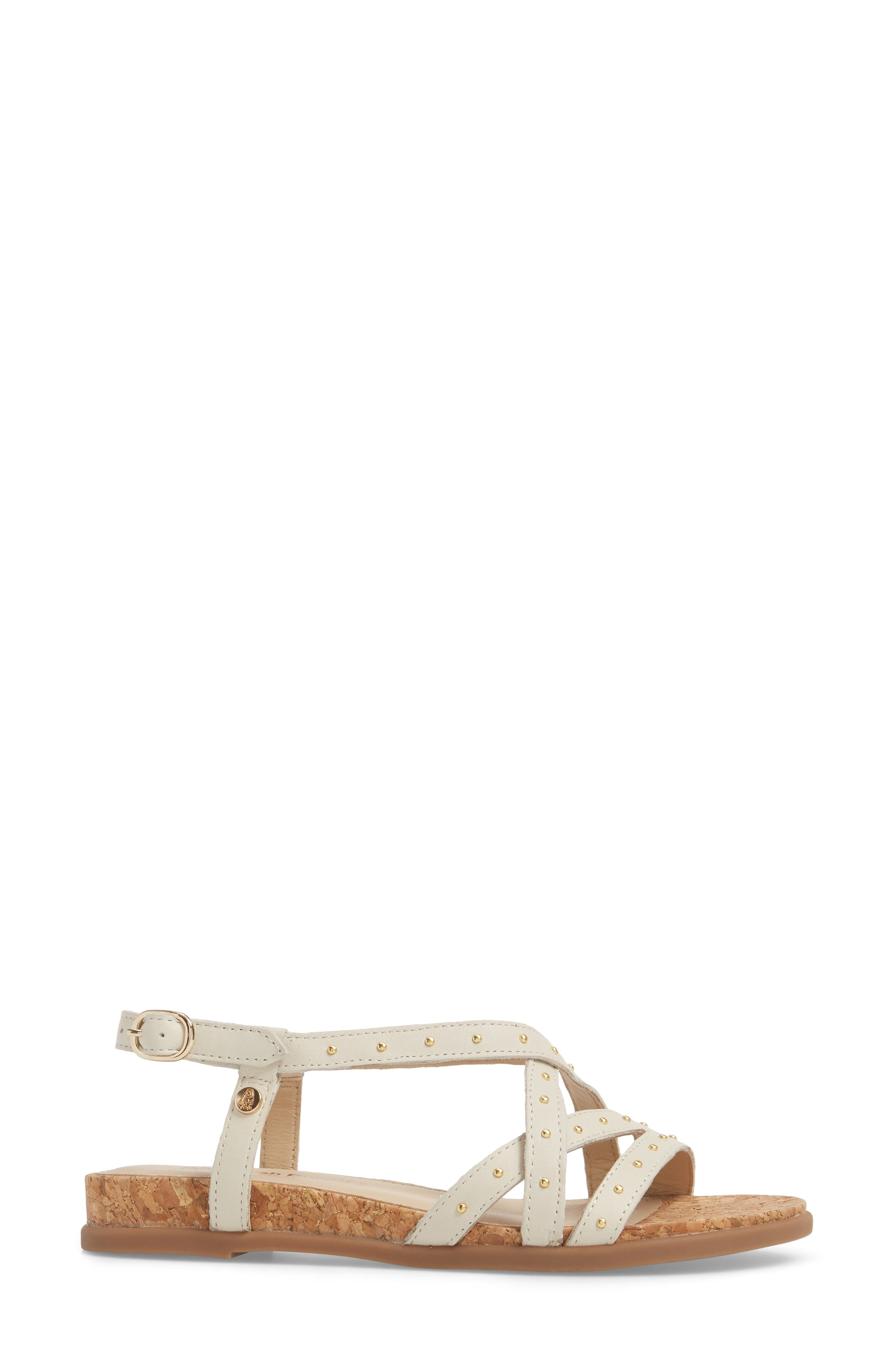 Dalmatian Studded Sandal,                             Alternate thumbnail 3, color,                             Ivory Leather