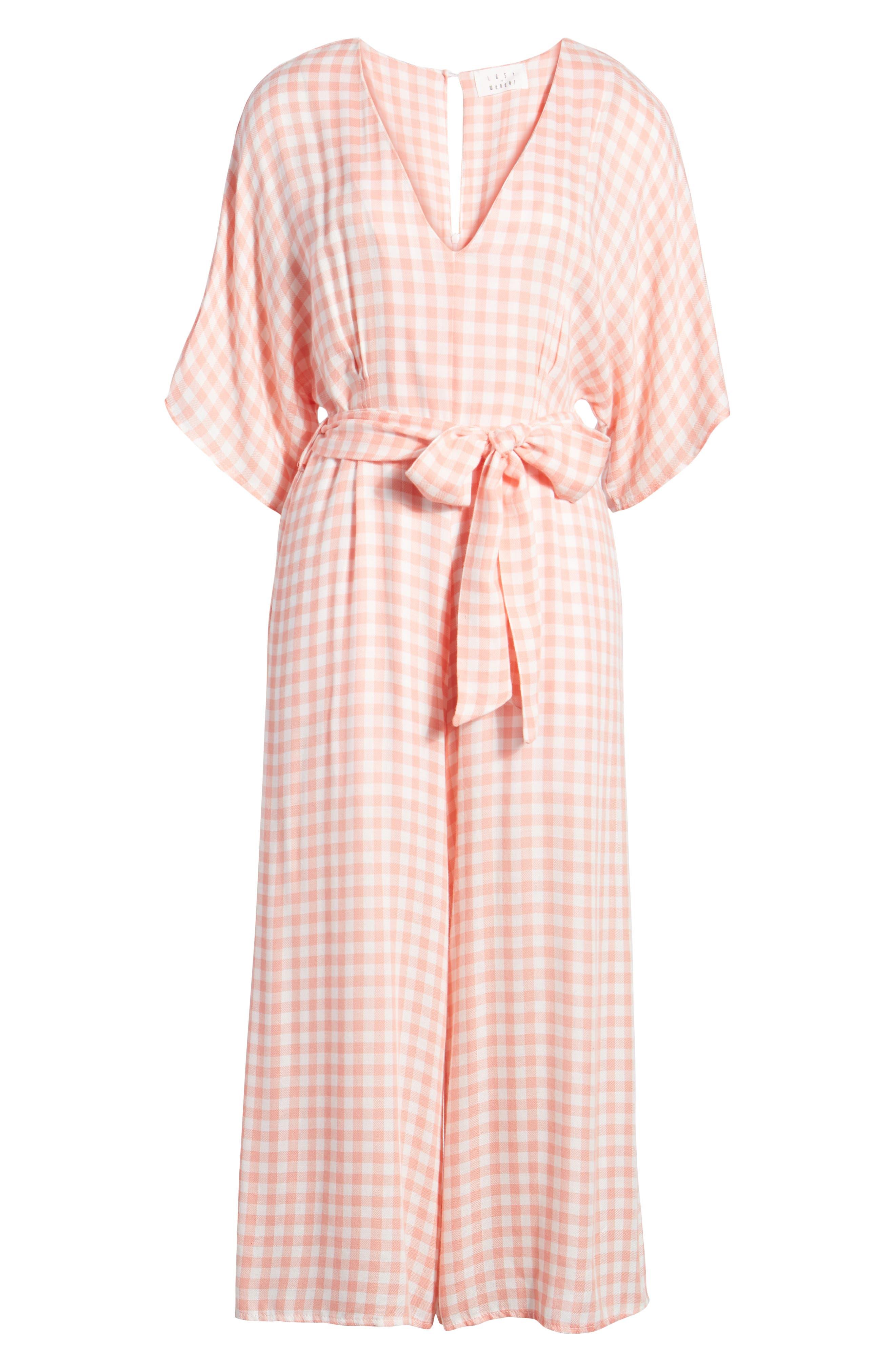 Brunch Gingham Jumpsuit,                             Alternate thumbnail 8, color,                             Grapefruit Pink