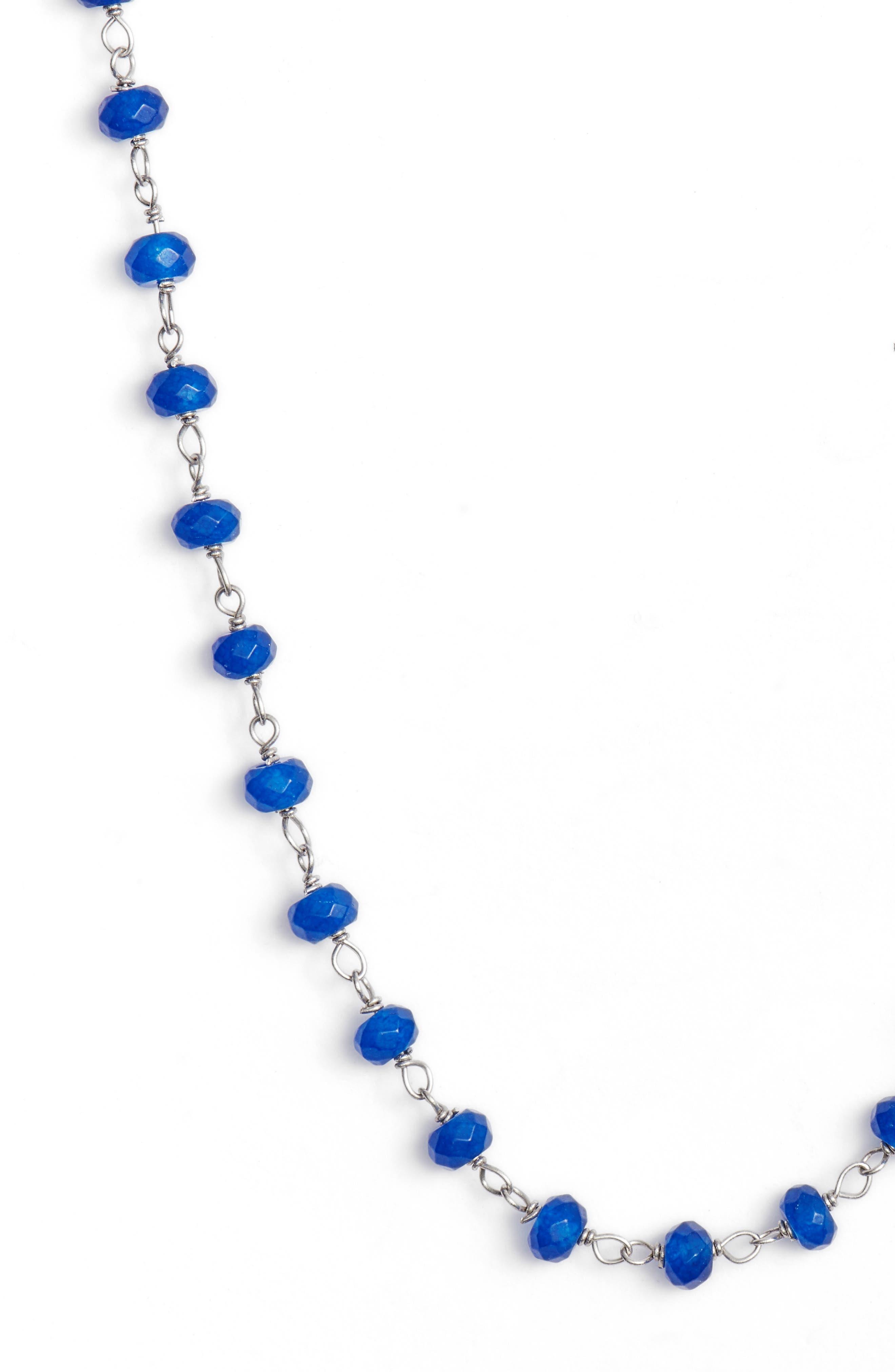 Beaded Wrap Necklace,                             Alternate thumbnail 3, color,                             Silver/ Lapis