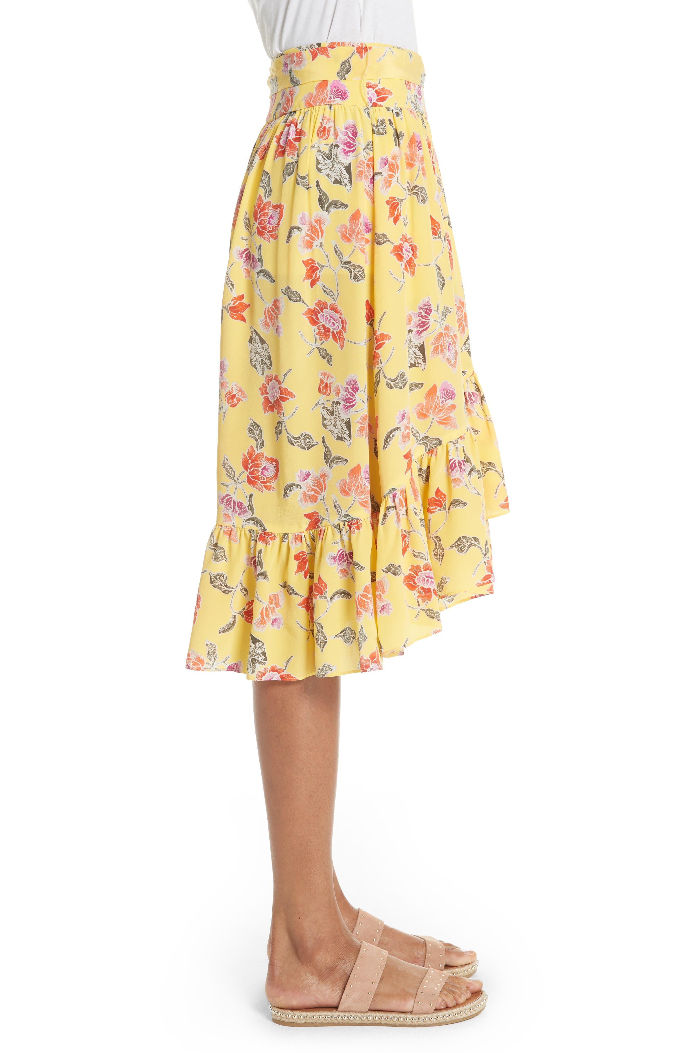 Denisha Floral Ruffle Silk Skirt,                             Alternate thumbnail 3, color,                             Pineapple
