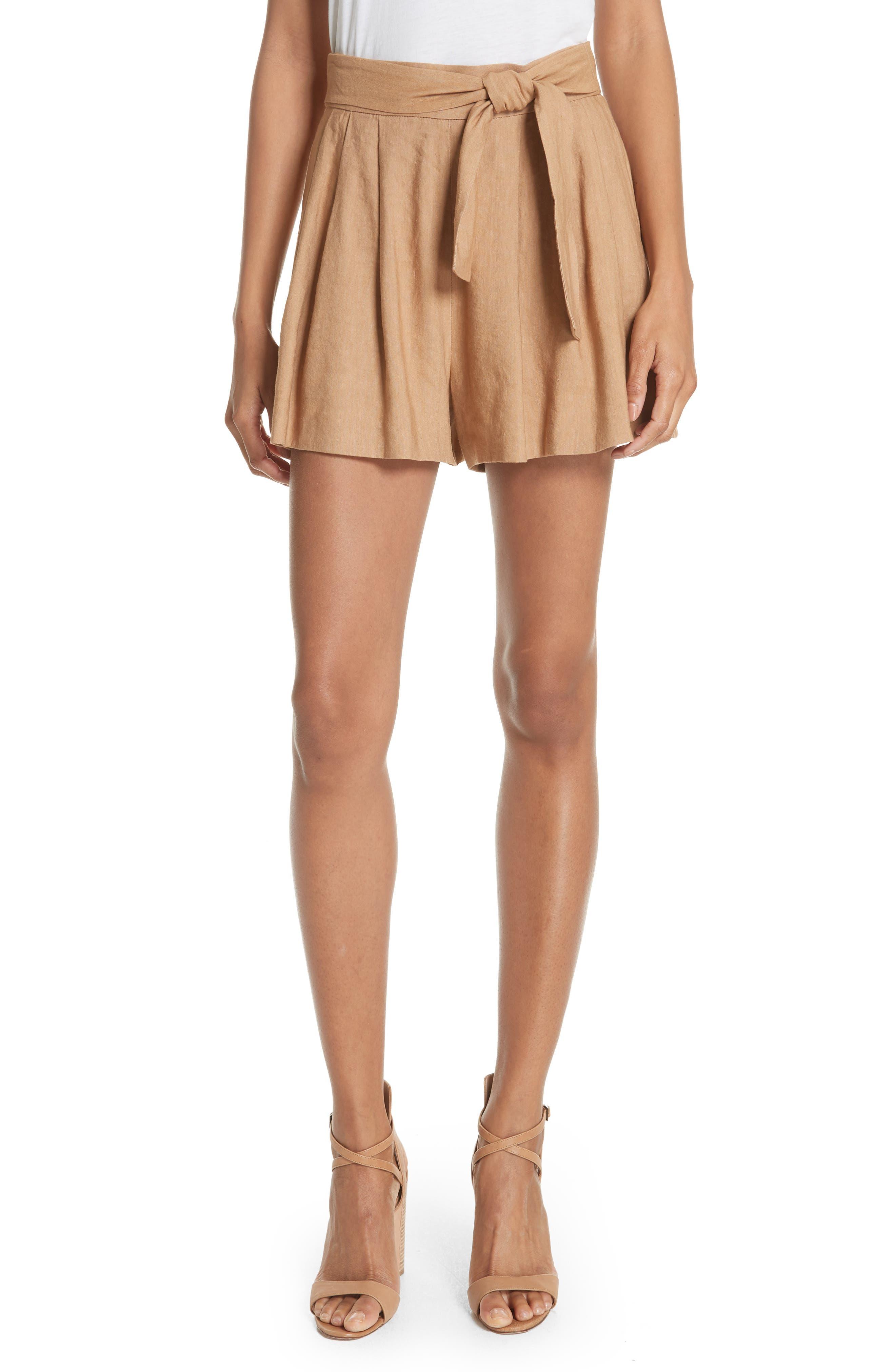 Dawson Flutter Tie Waist Linen Blend Shorts,                         Main,                         color, Tan