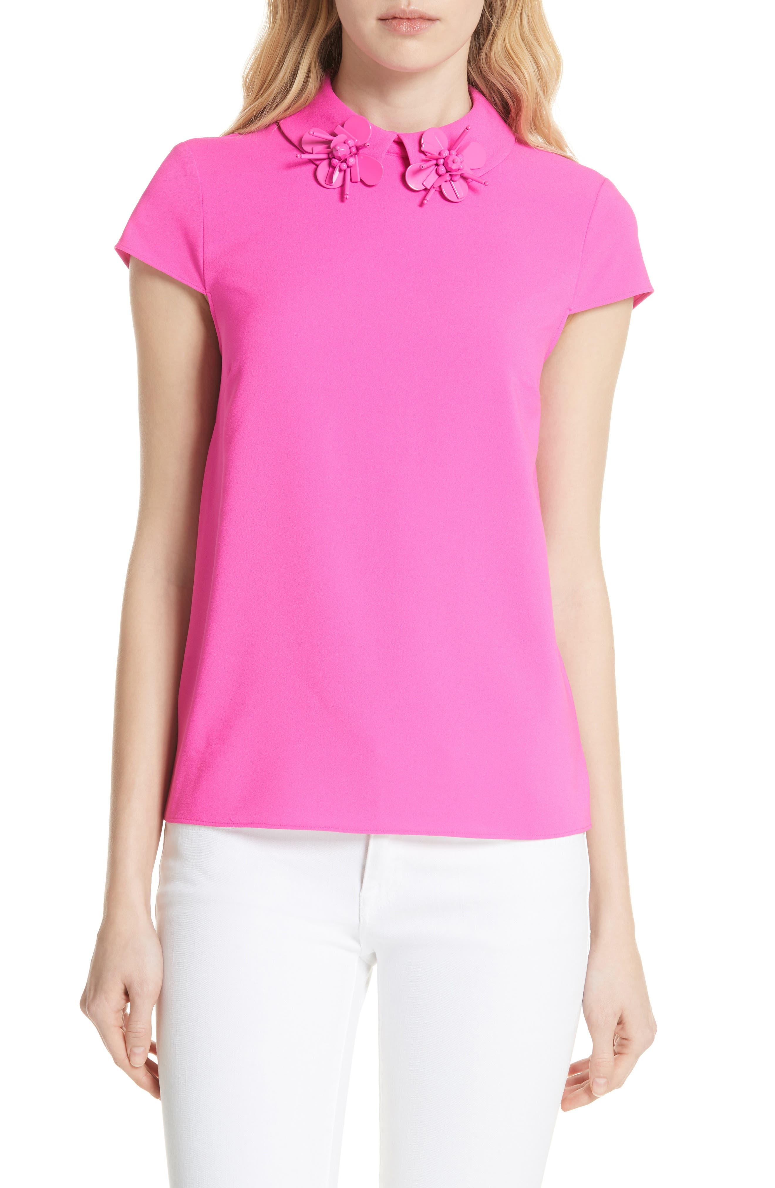 Ammah Embellished Collar Crepe Top,                         Main,                         color, Neon Pink