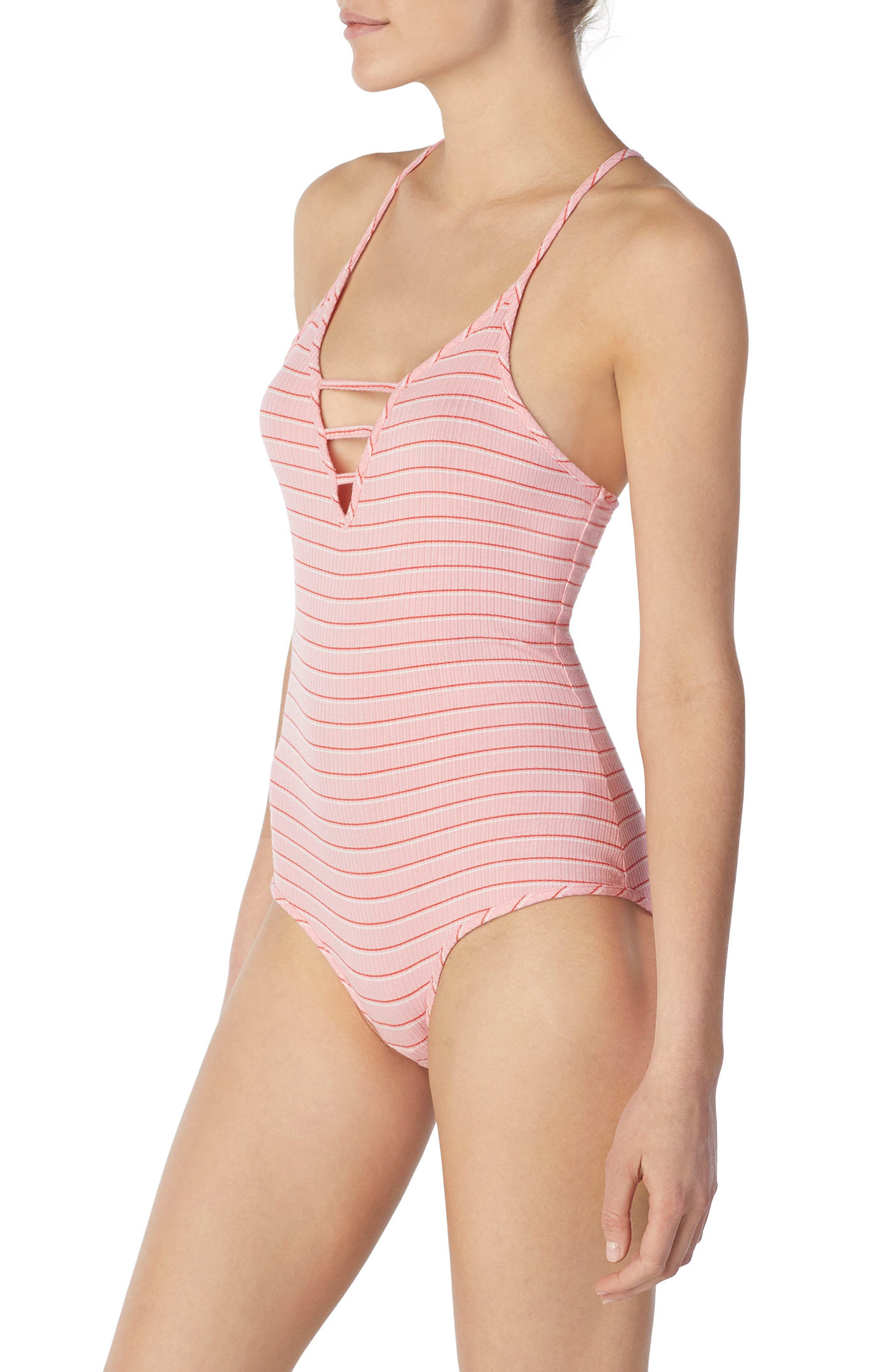 Stripe Bodysuit,                             Alternate thumbnail 3, color,                             Millennial Pink