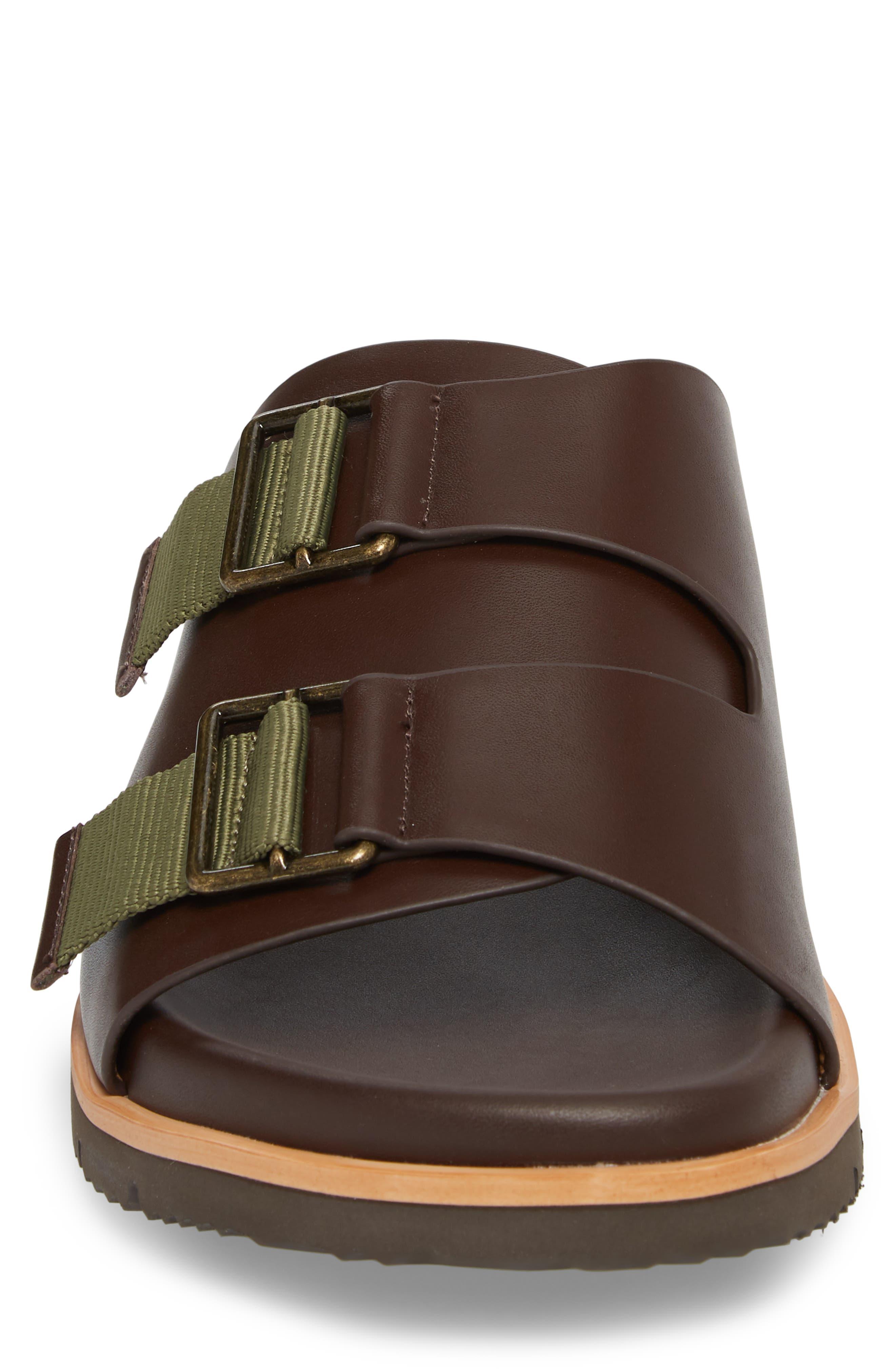 Slide Sandal,                             Alternate thumbnail 4, color,                             Expresso/ Tan Leather