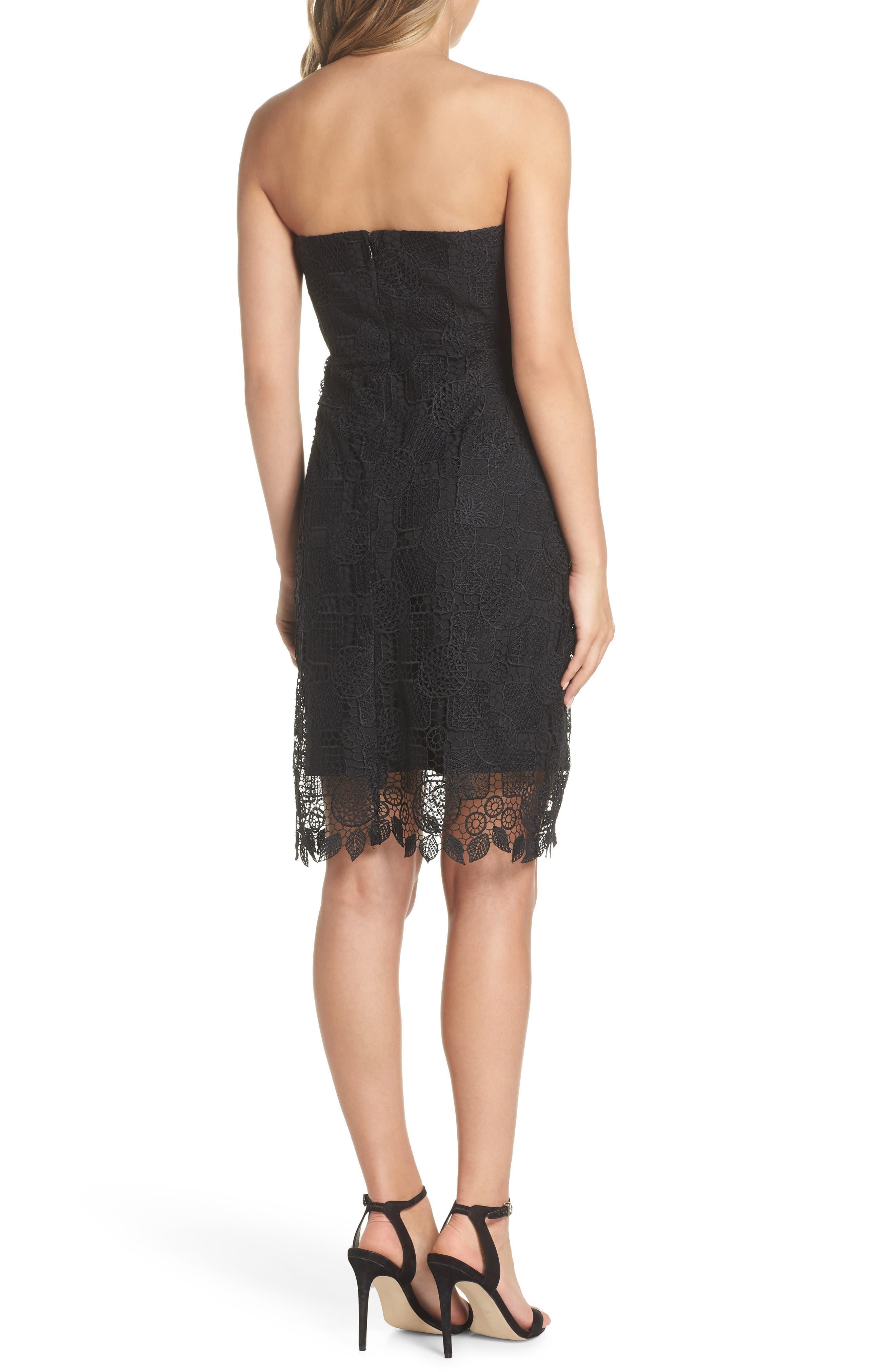 Strapless Lace Dress,                             Alternate thumbnail 2, color,                             Black