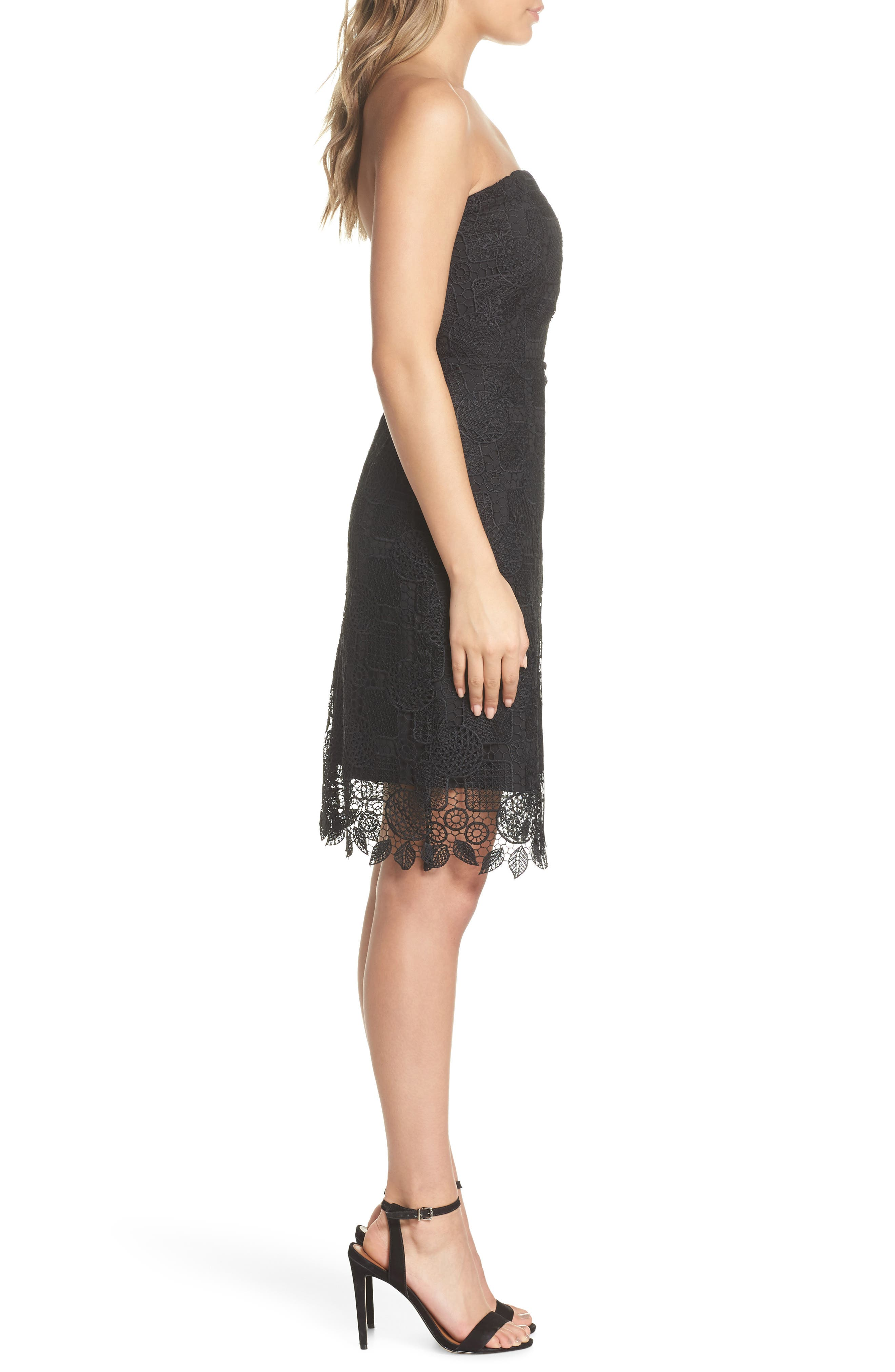 Strapless Lace Dress,                             Alternate thumbnail 3, color,                             Black