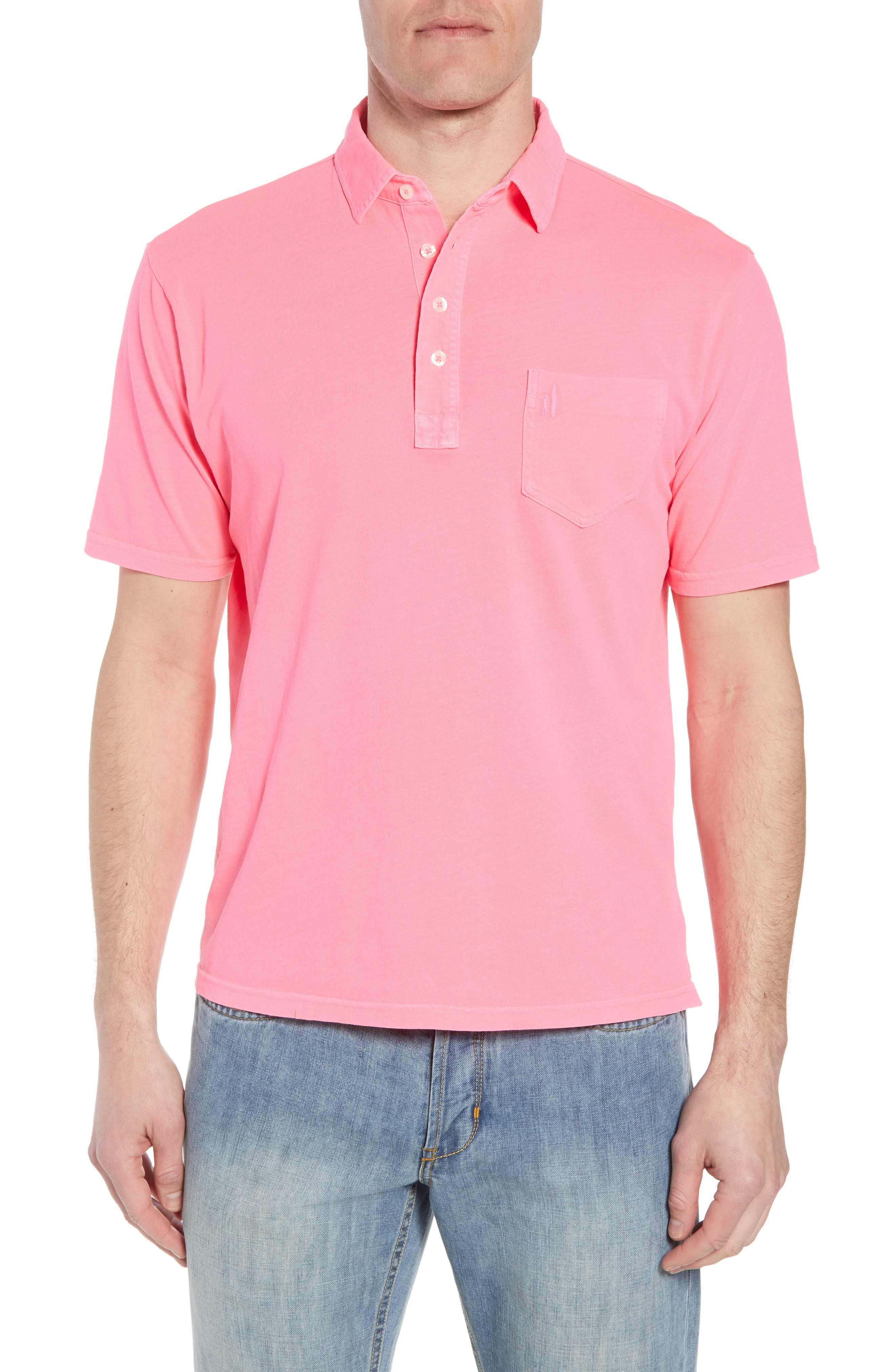 Original Regular Fit Garment Dyed Polo,                         Main,                         color, Neon Pink