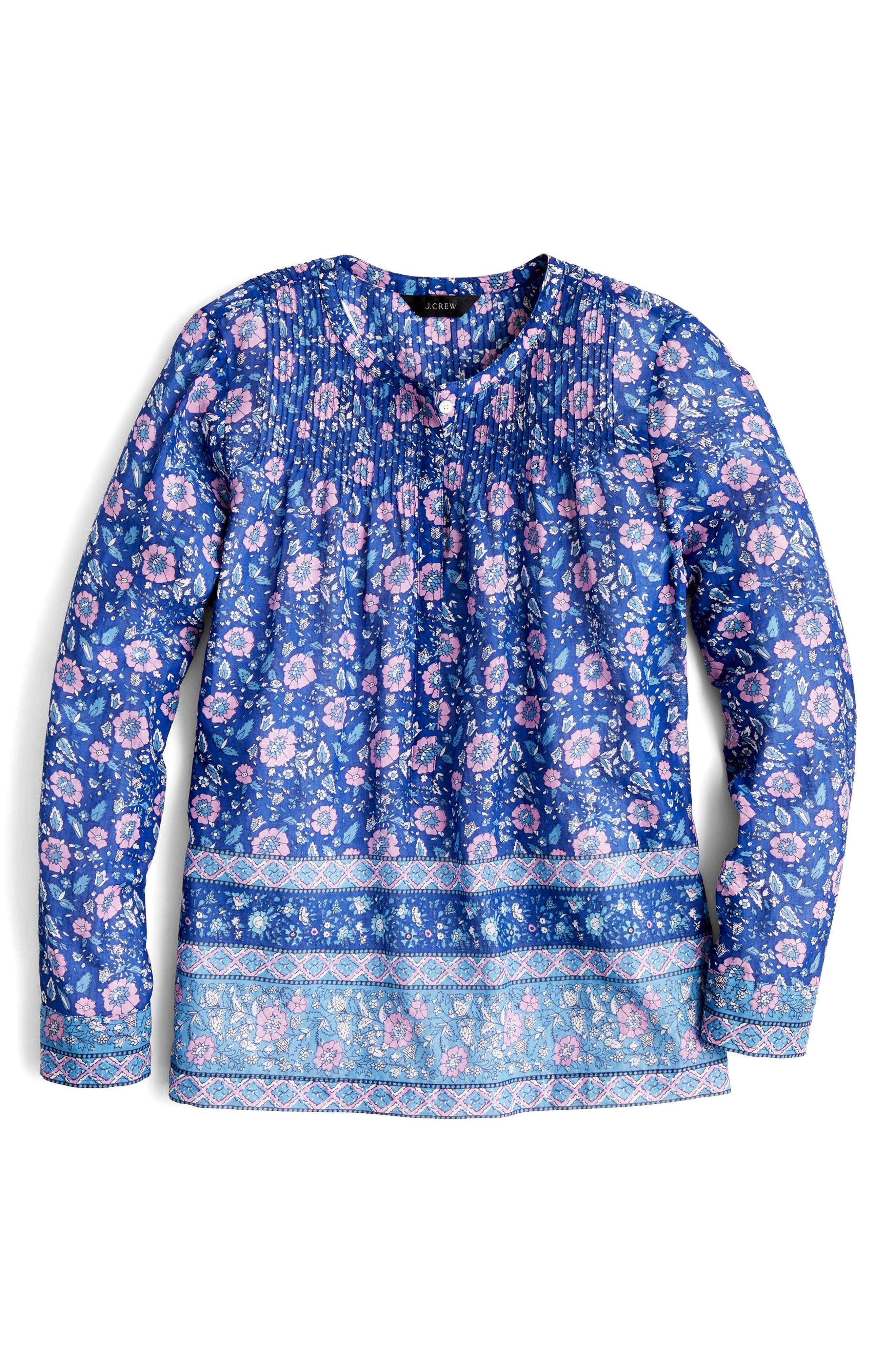Cotton Voile Popover Shirt,                             Alternate thumbnail 2, color,                             Blue Multi