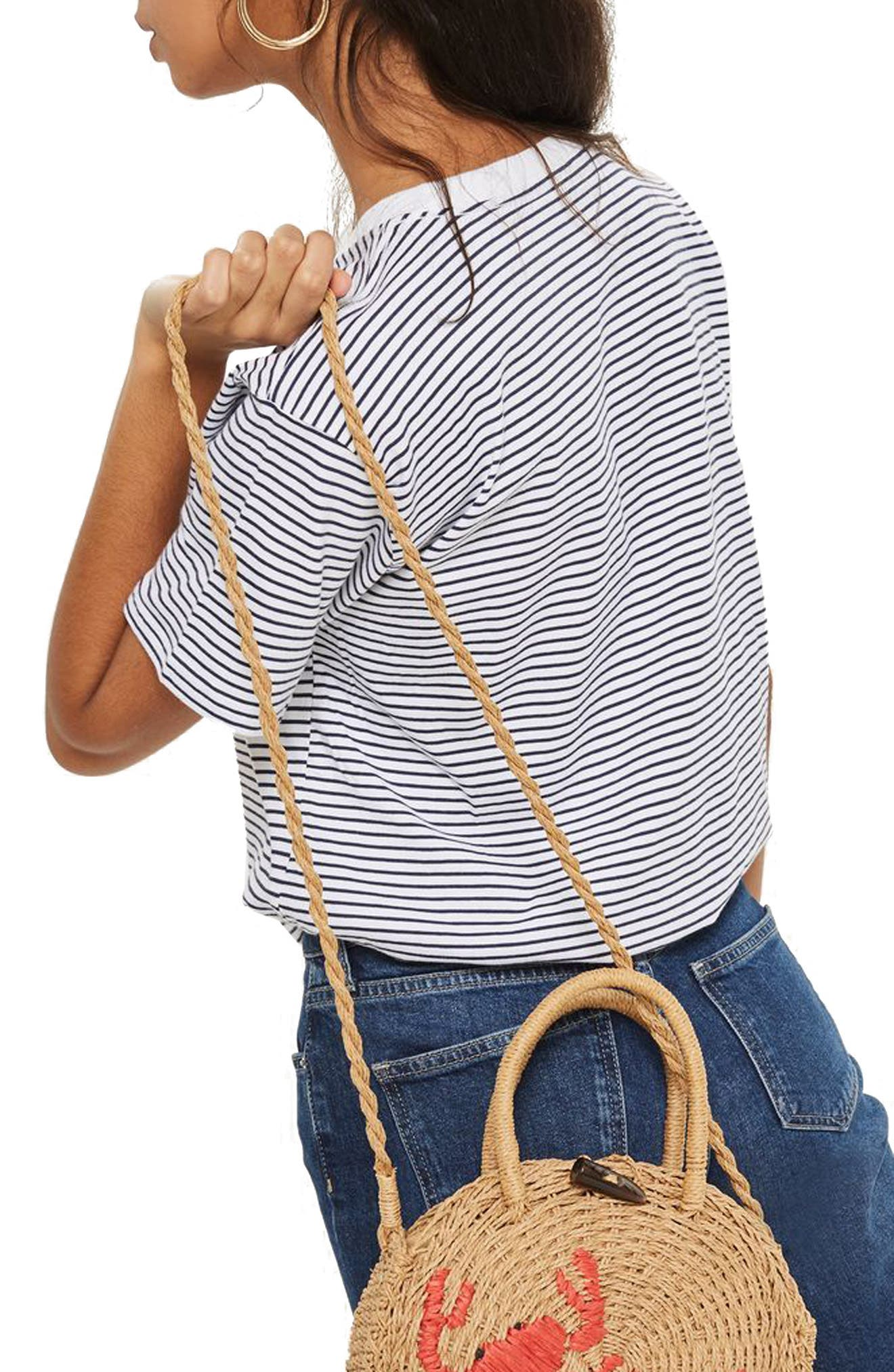 Petite Stripe Sweetheart T-Shirt,                             Alternate thumbnail 2, color,                             White Multi