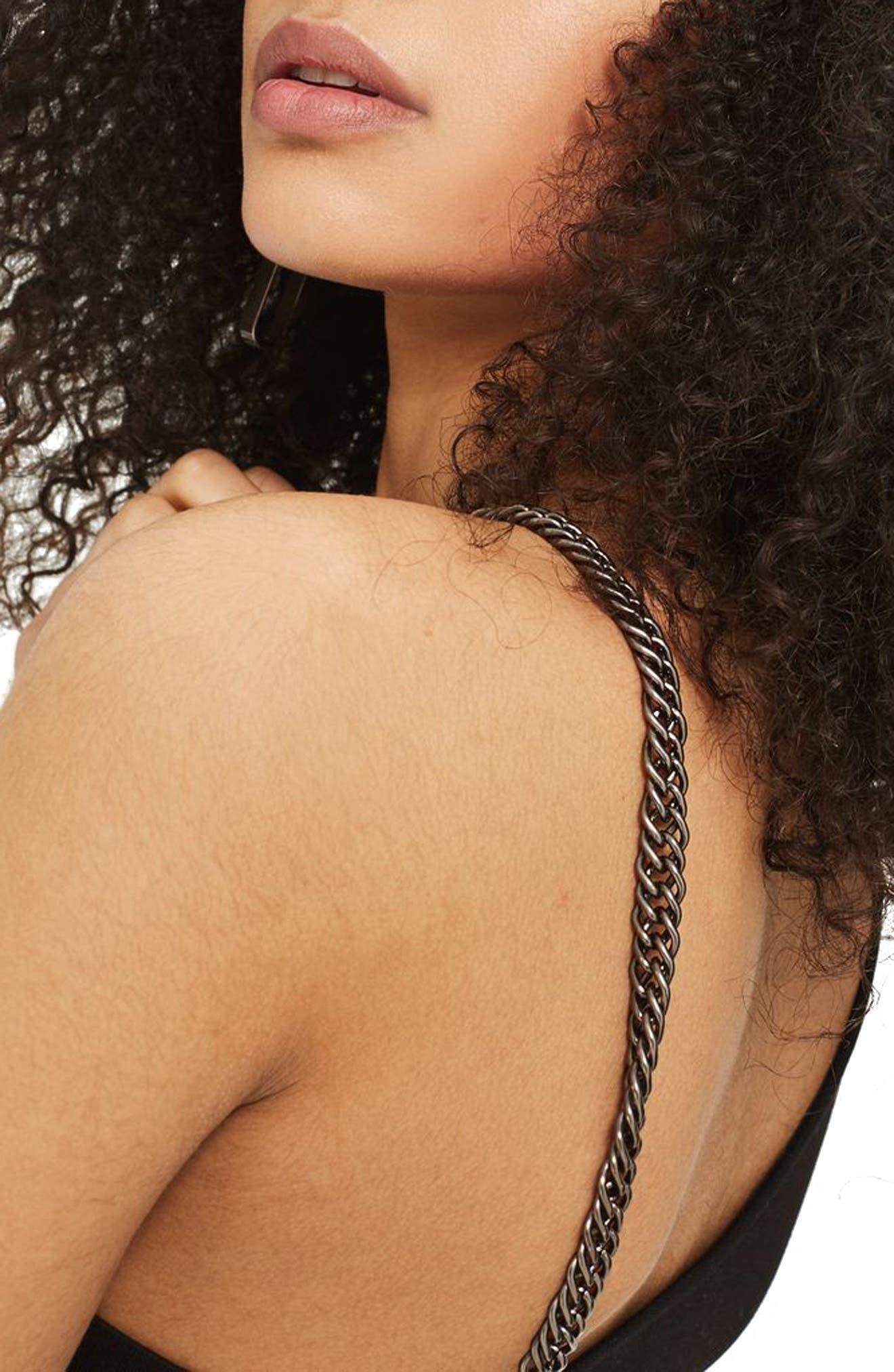 Chain Curve Mini Body-Con Dress,                             Alternate thumbnail 3, color,                             Black Multi