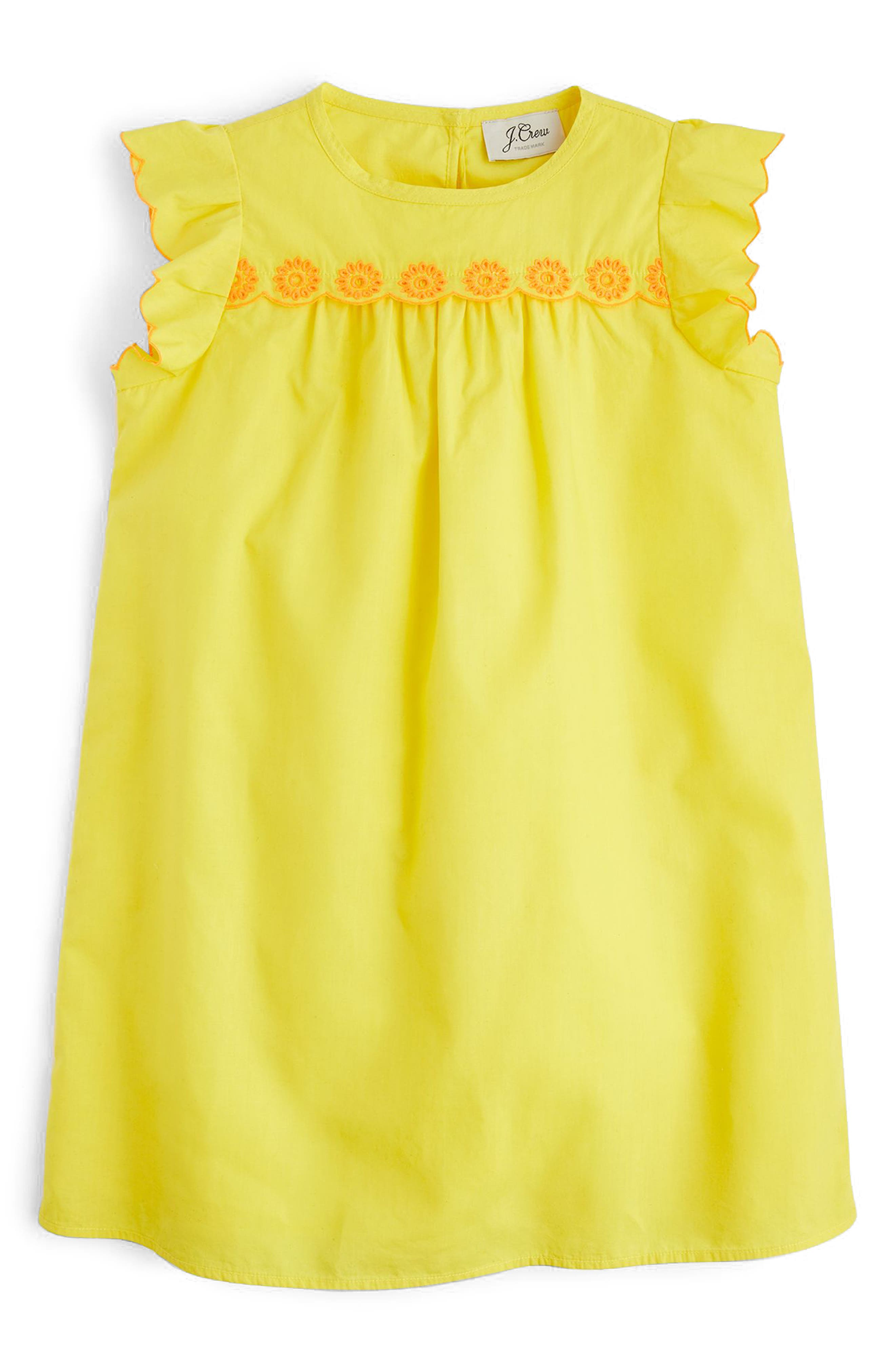 Floral Embroidered Shift Dress,                             Main thumbnail 1, color,                             Vivid Canary