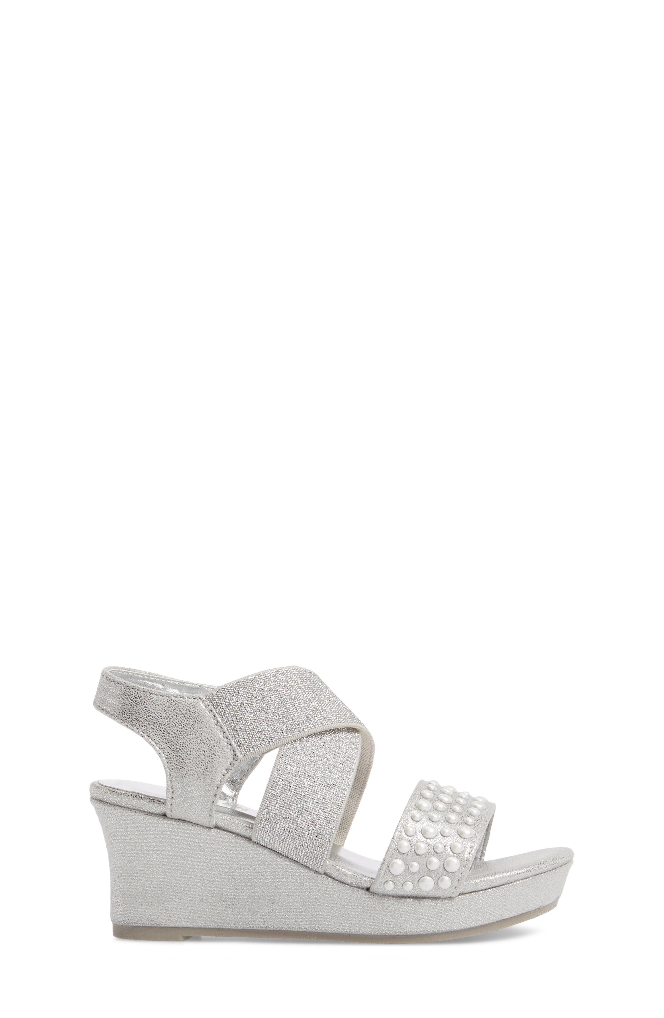 Reed Glimmer Wedge Sandal,                             Alternate thumbnail 3, color,                             Silver