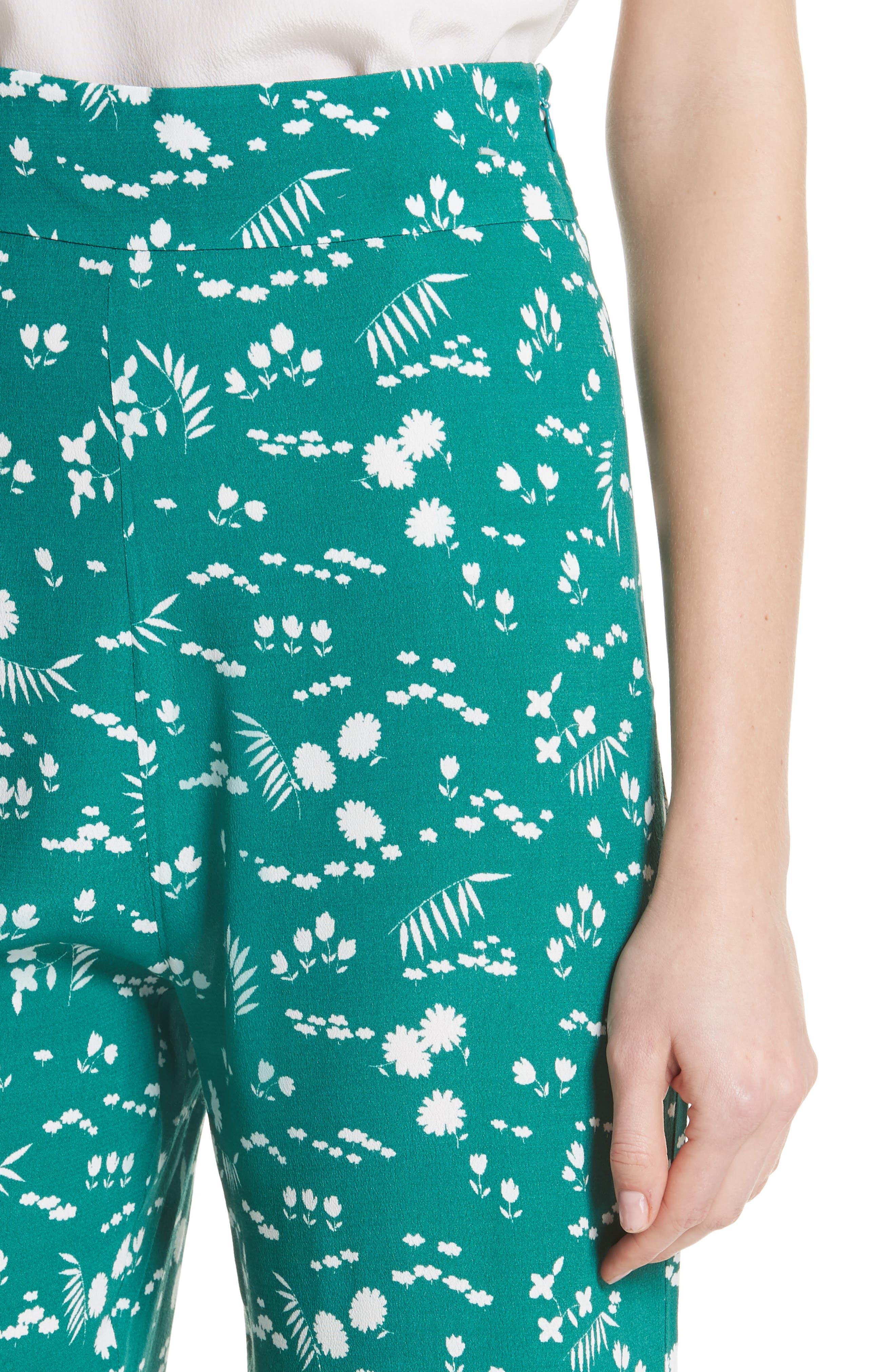Floral Print Crop Pants,                             Alternate thumbnail 4, color,                             Imprime