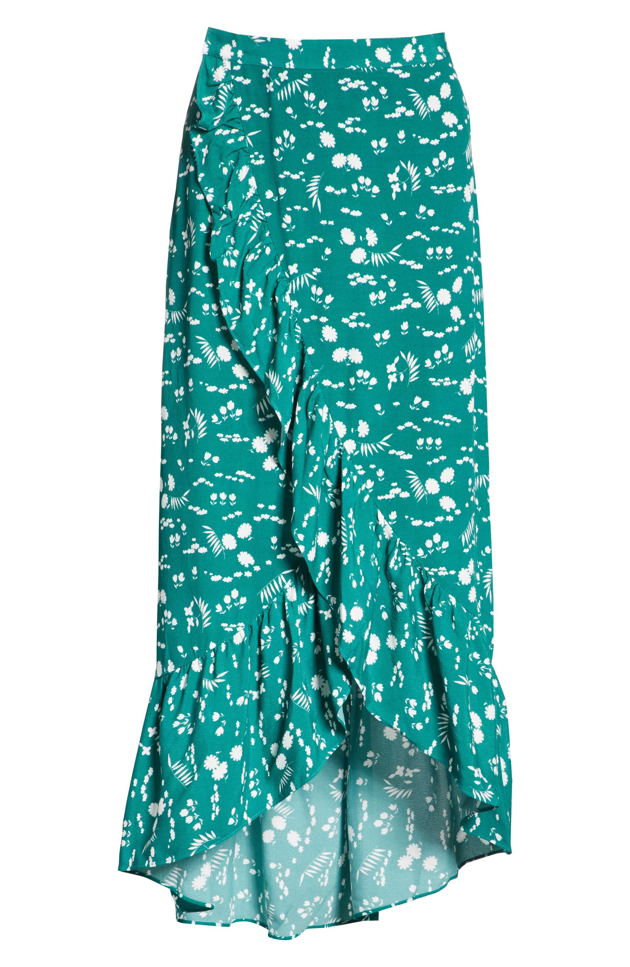 Floral High/Low Wrap Skirt,                             Alternate thumbnail 6, color,                             Imprime