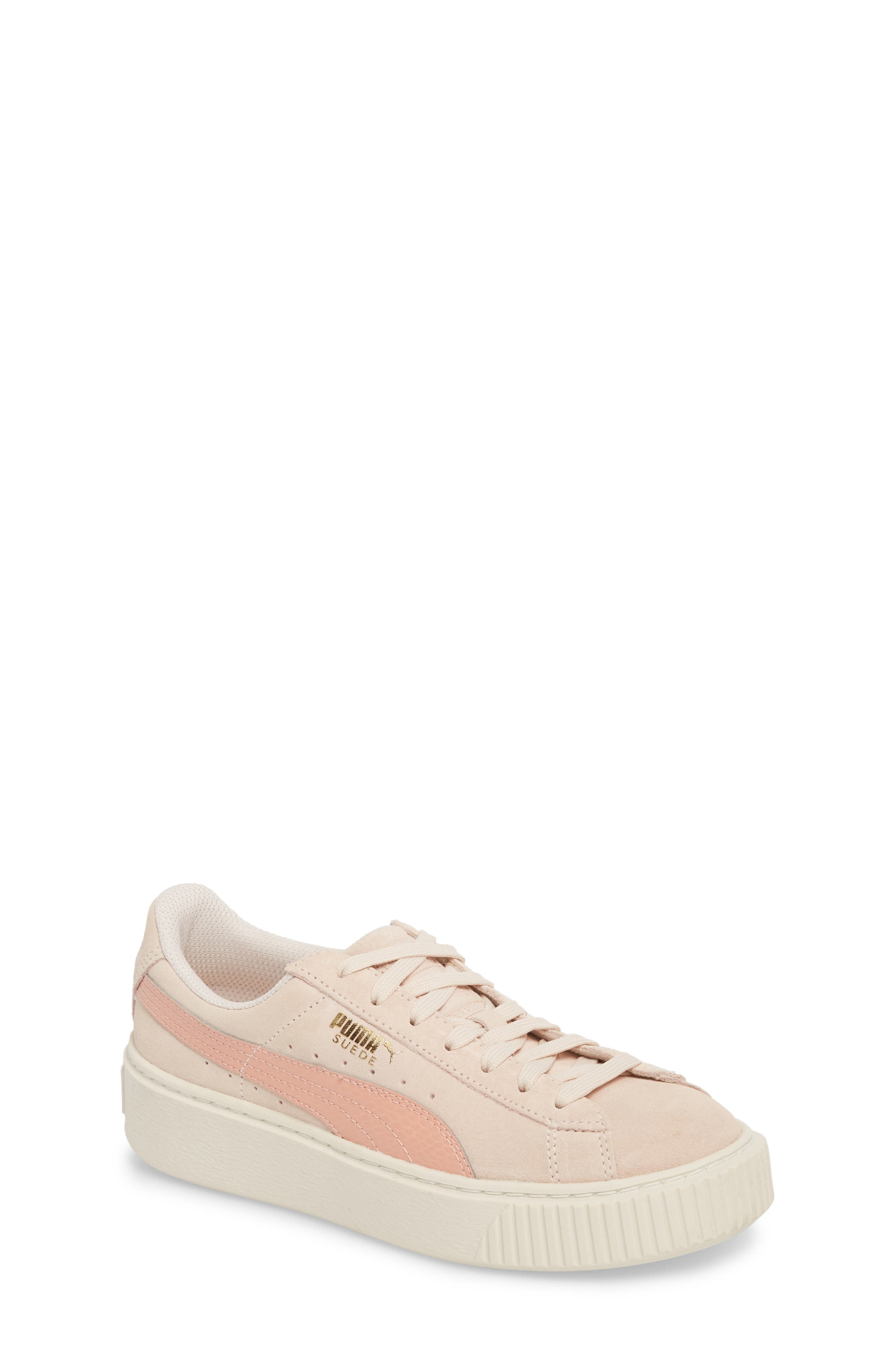 Suede Platform Jr Sneaker,                             Main thumbnail 1, color,                             Pearl/ Peach Beige