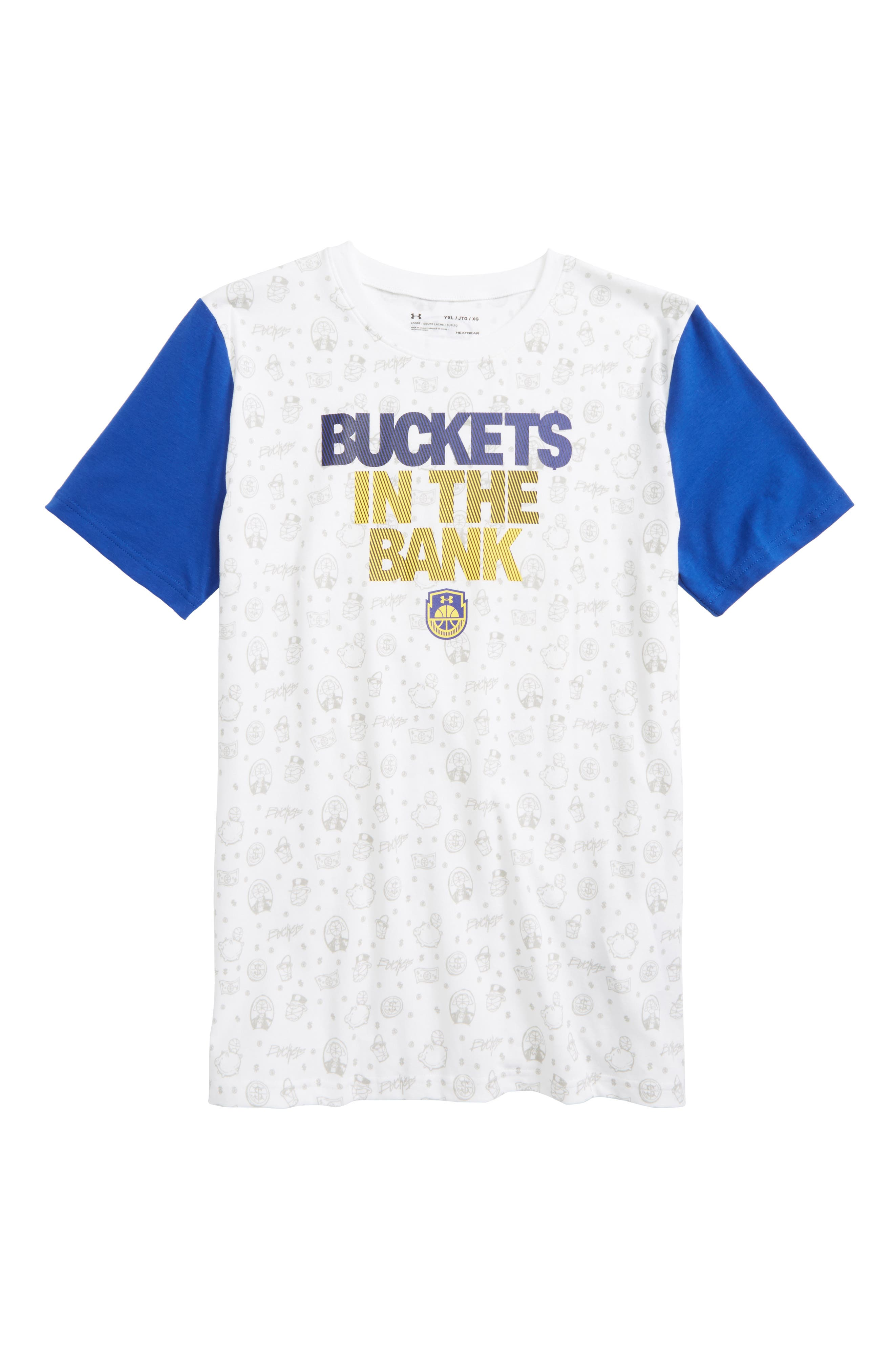 Buckets in the Bank Graphic HeatGear<sup>®</sup> T-Shirt,                         Main,                         color, White/ Royal