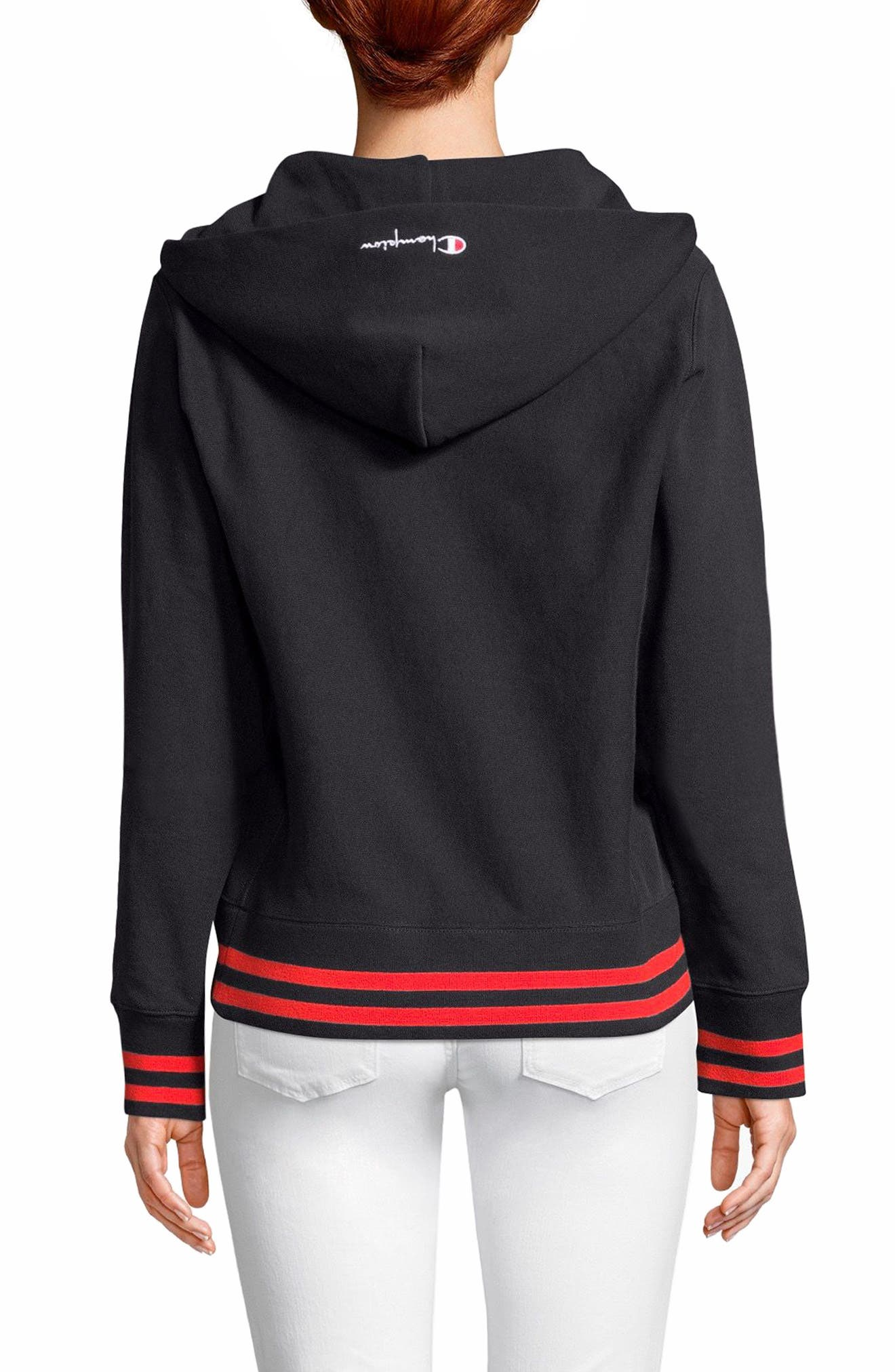 Lace-Up Terry Hoodie,                             Alternate thumbnail 2, color,                             White Stripe