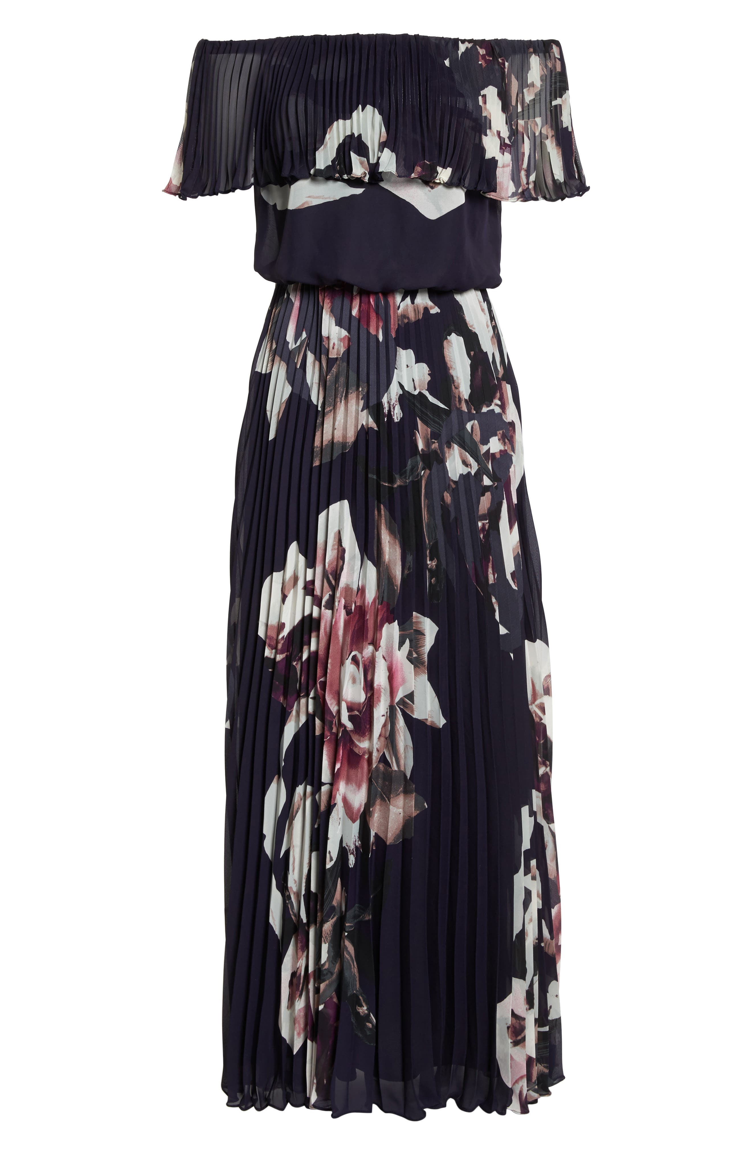 Off the Shoulder Ruffle Gown,                             Alternate thumbnail 6, color,                             Navy/ Pink