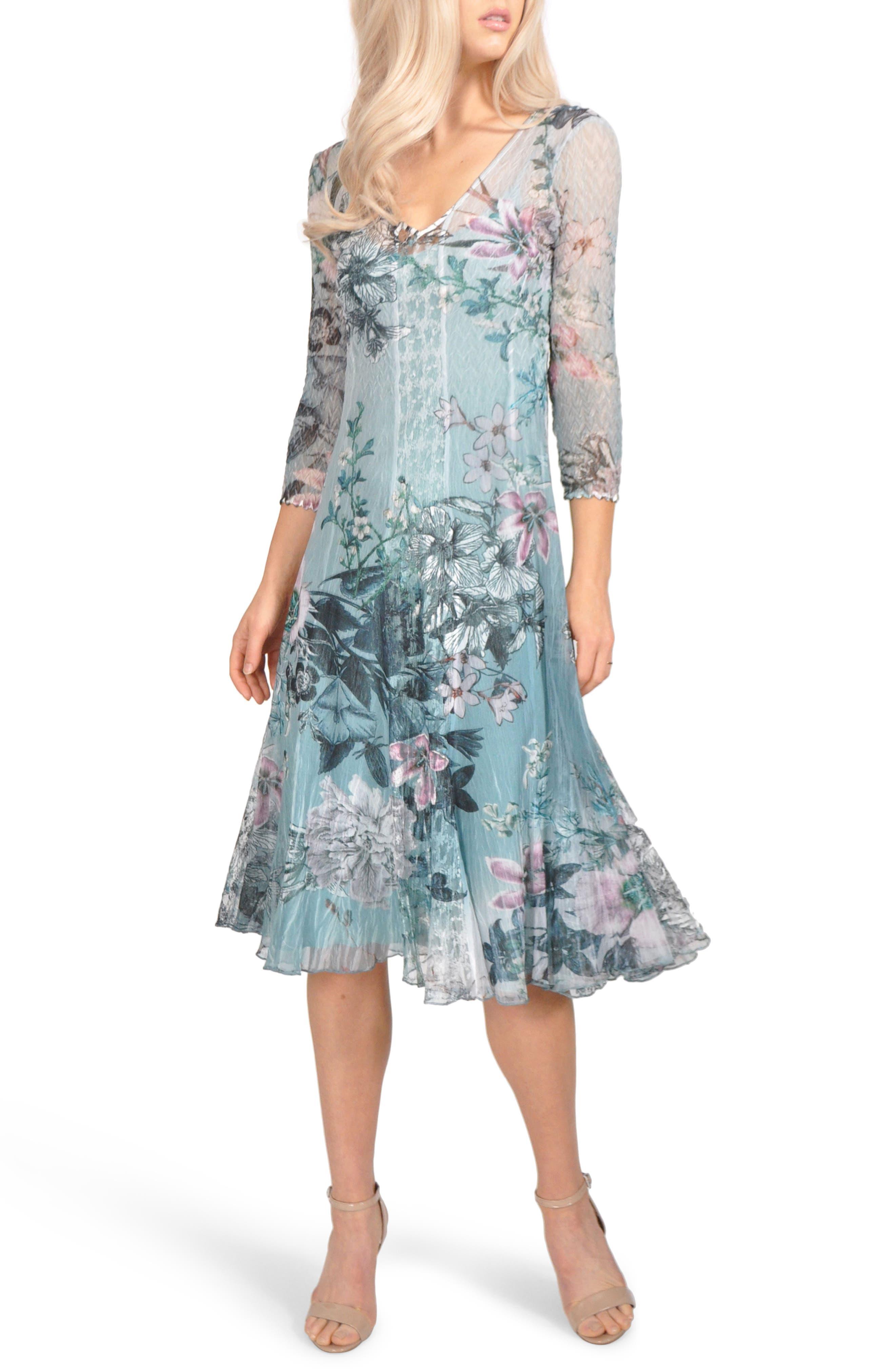 Komarov Floral Chiffon A-Line Dress (Regular & Petite)
