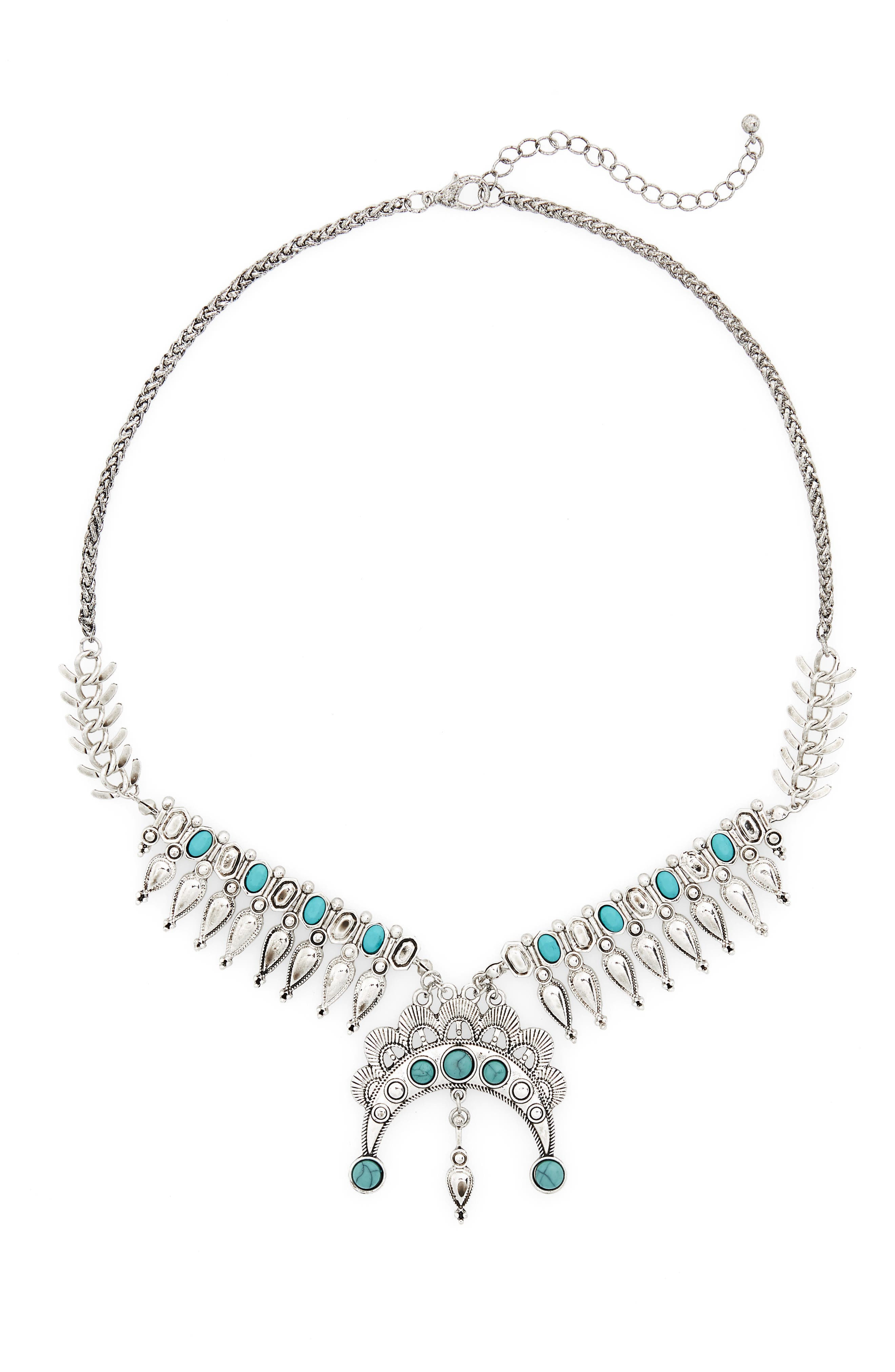 Western Crescent Statement Necklace,                         Main,                         color, Silver/ Turquoise