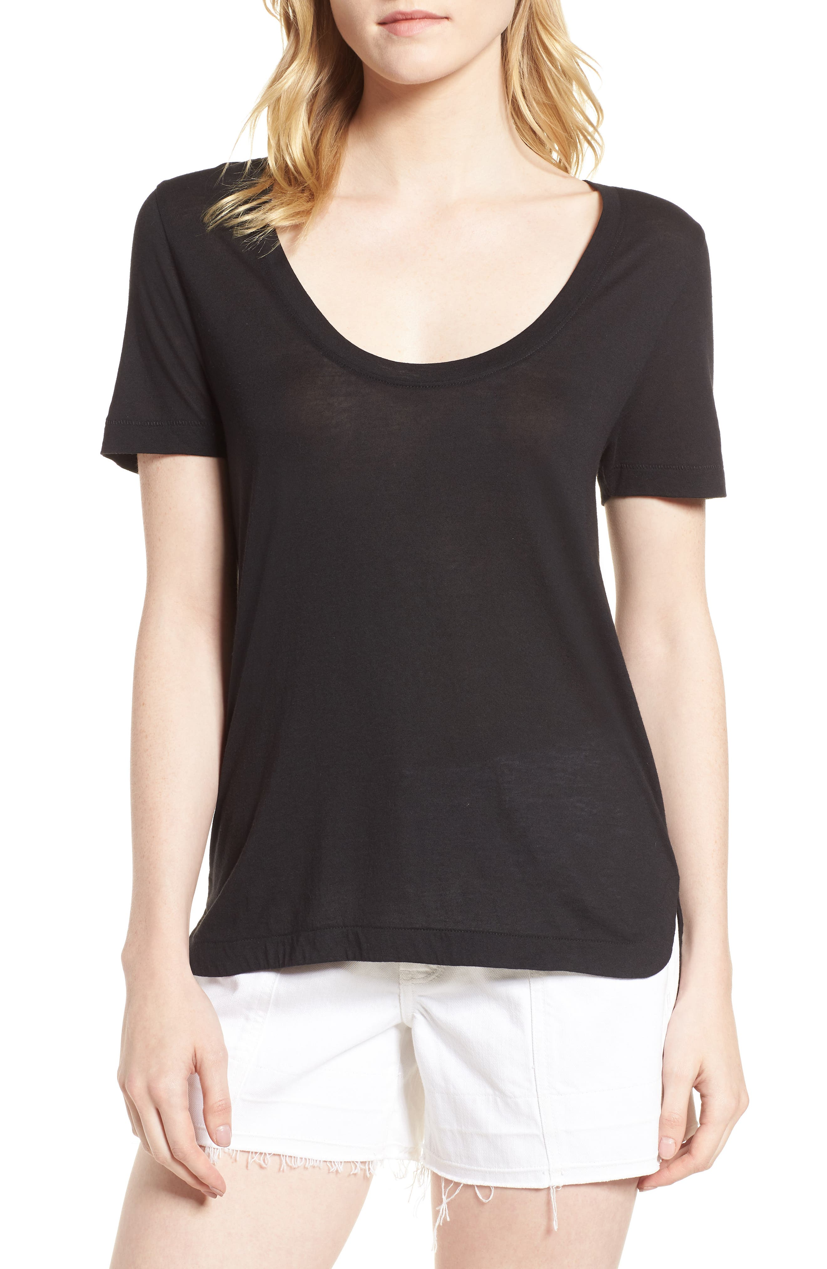 Reed Scoop Neck Tee,                             Main thumbnail 1, color,                             Black