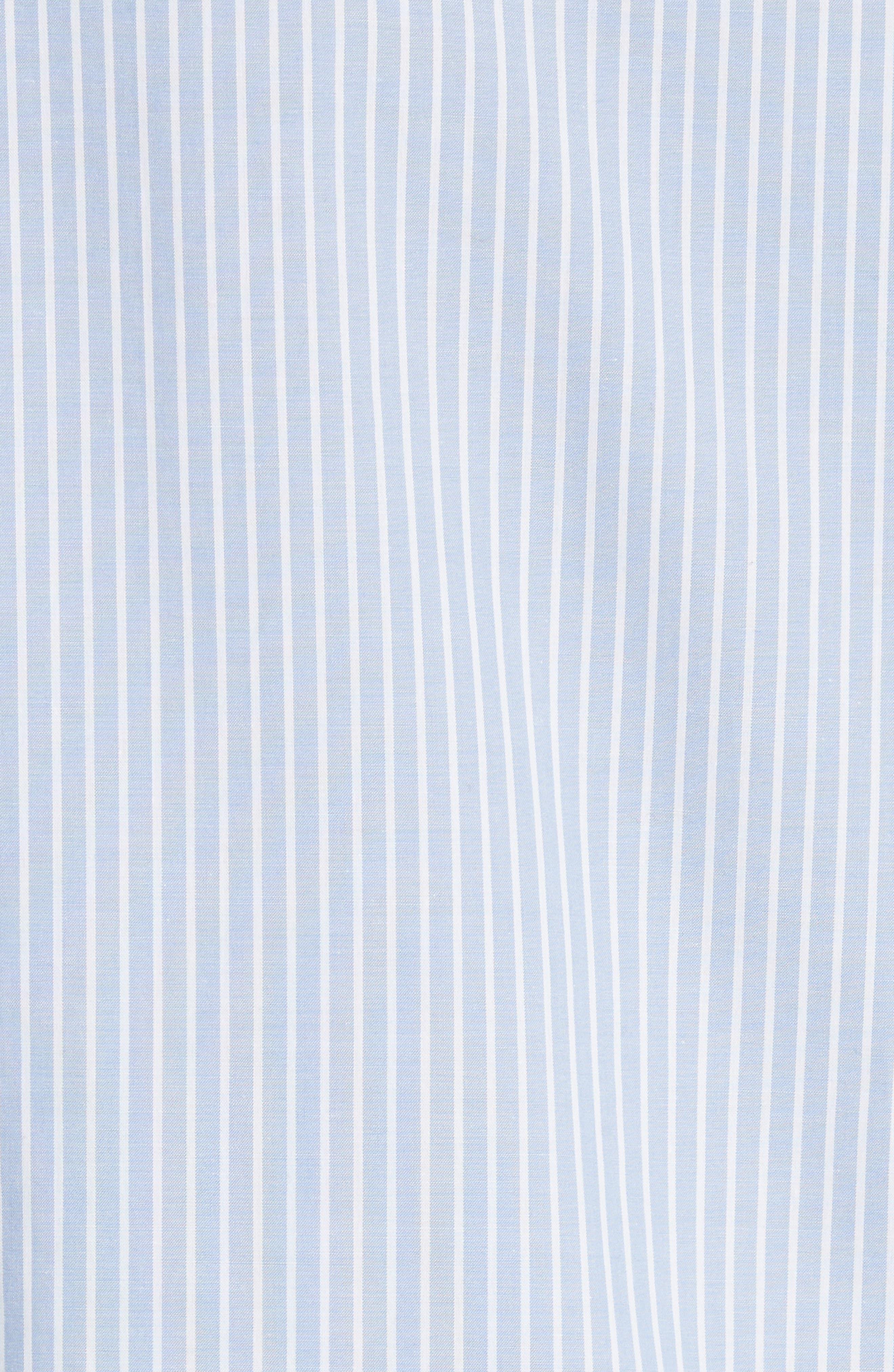 flutter sleeve stripe cotton blouse,                             Alternate thumbnail 5, color,                             Manatee/ Fresh White