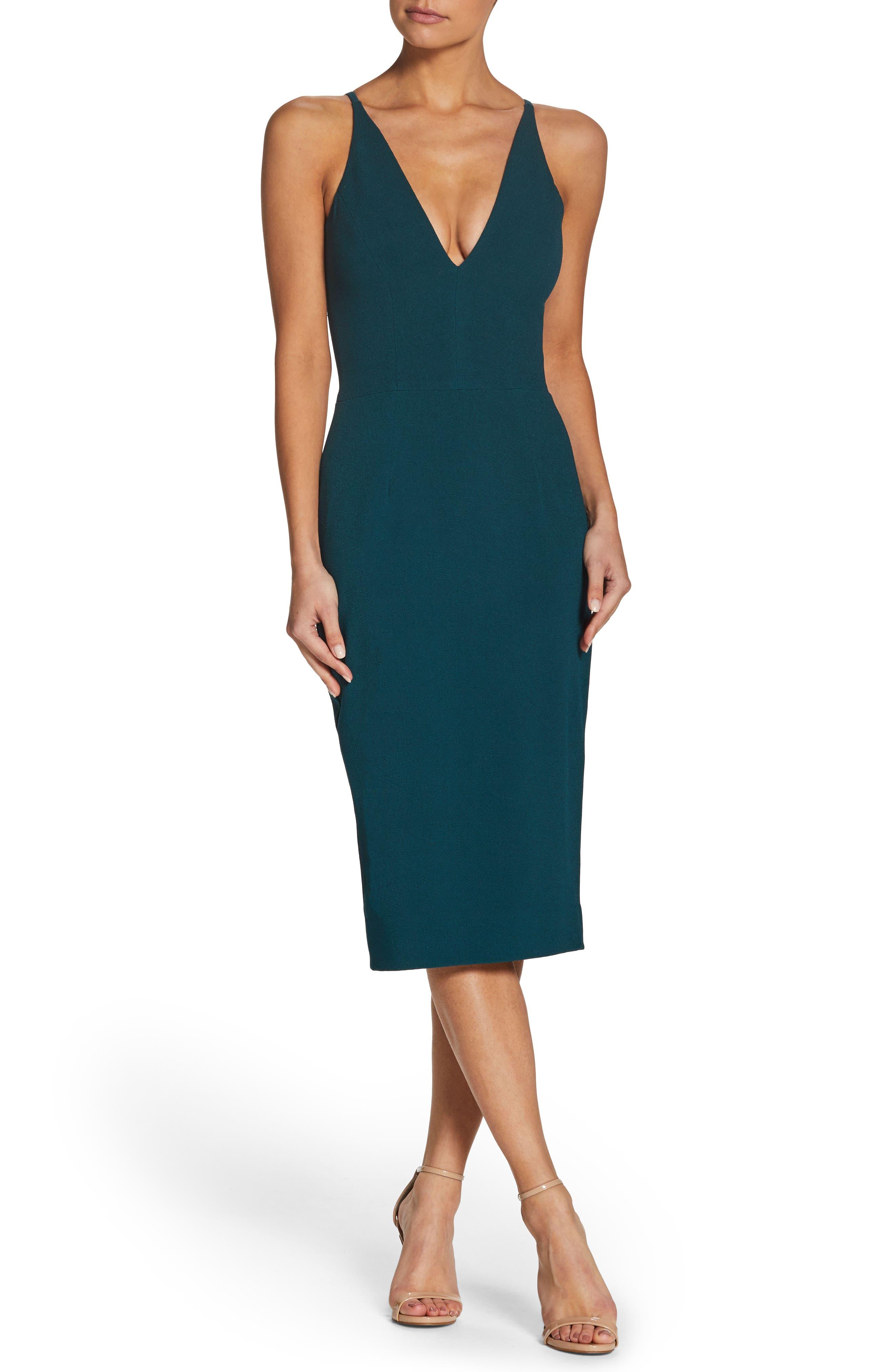 Lyla Crepe Sheath Dress,                         Main,                         color, Pine