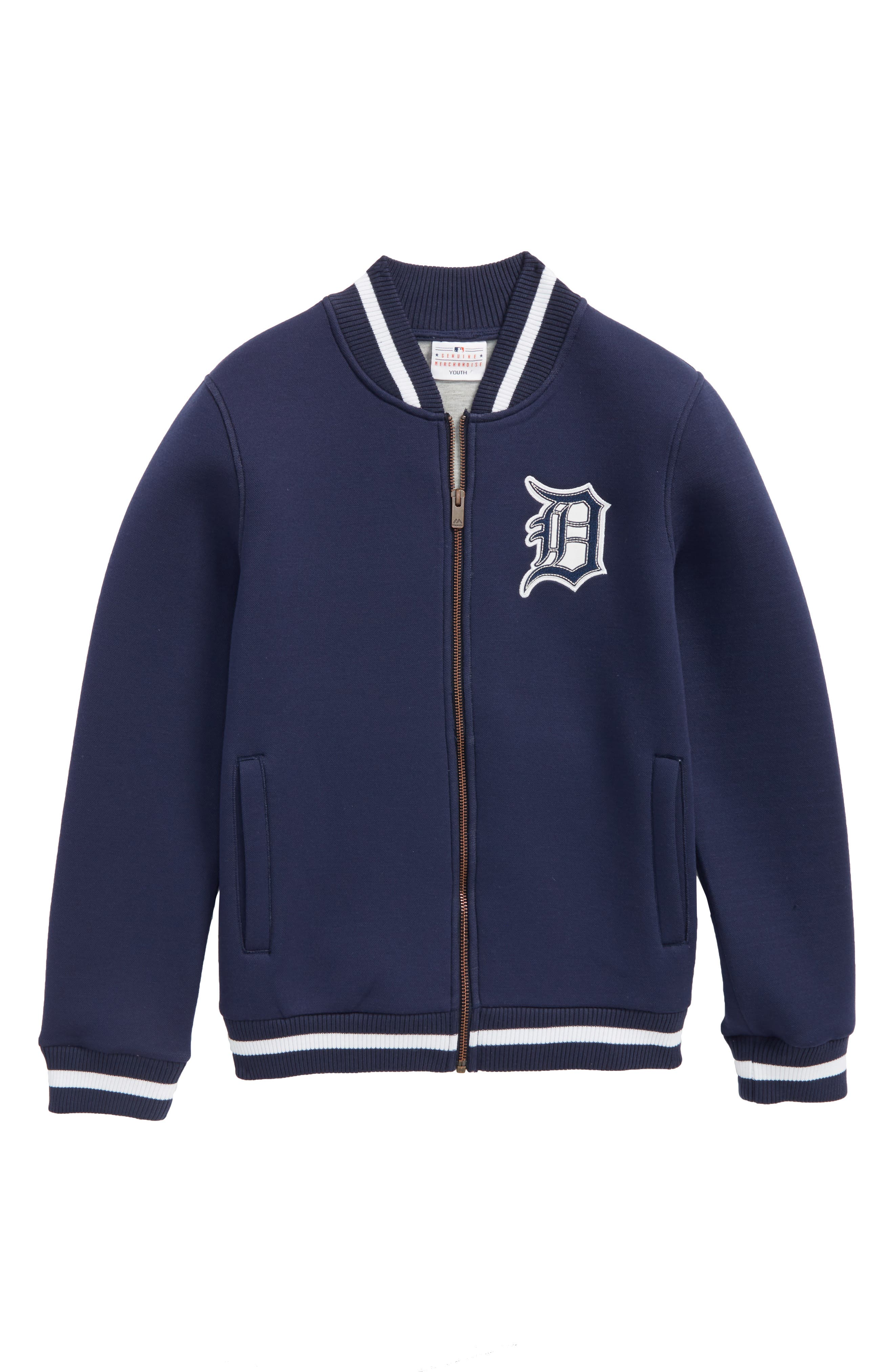 Classical Detroit Tigers Knit Varsity Jacket,                         Main,                         color, Navy