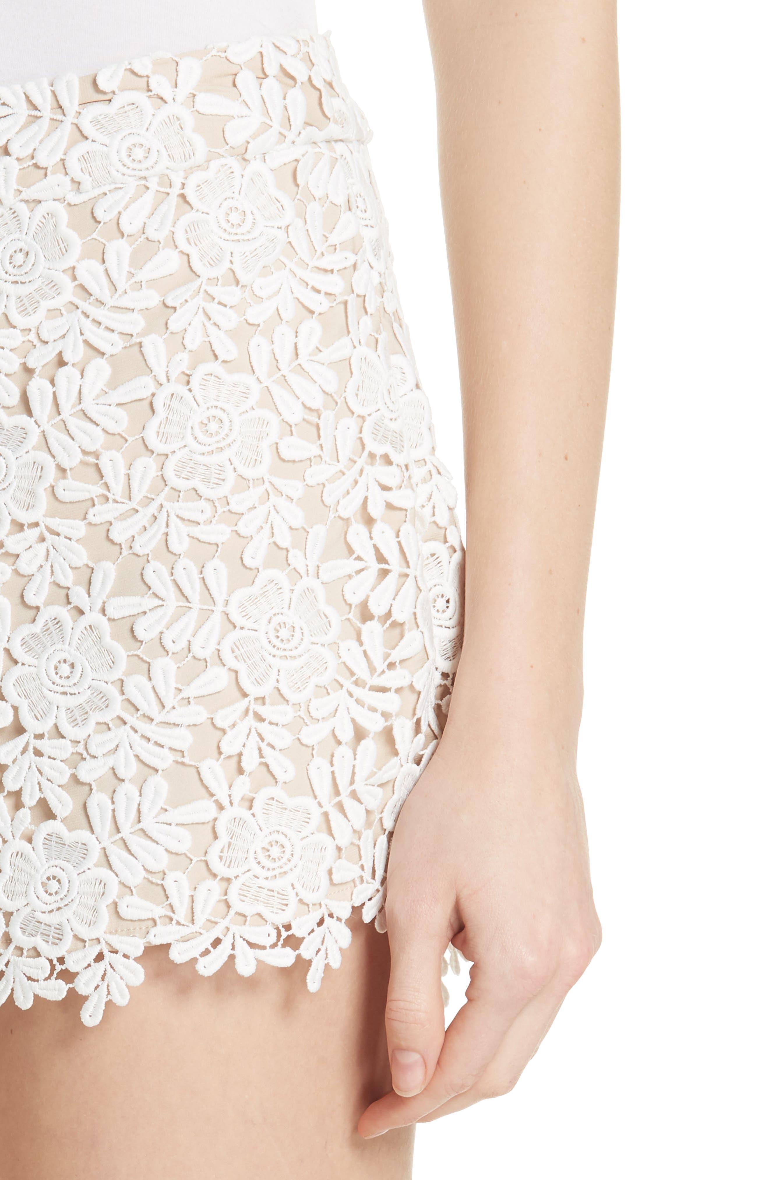 Marisa Floral Lace Shorts,                             Alternate thumbnail 4, color,                             Off White/ Sesame